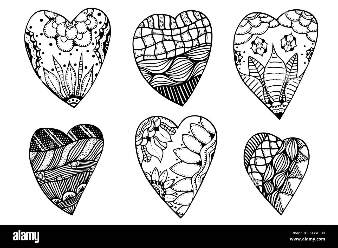 Conjunto de corazones monocromo dibujados a mano en estilo zentangle ...