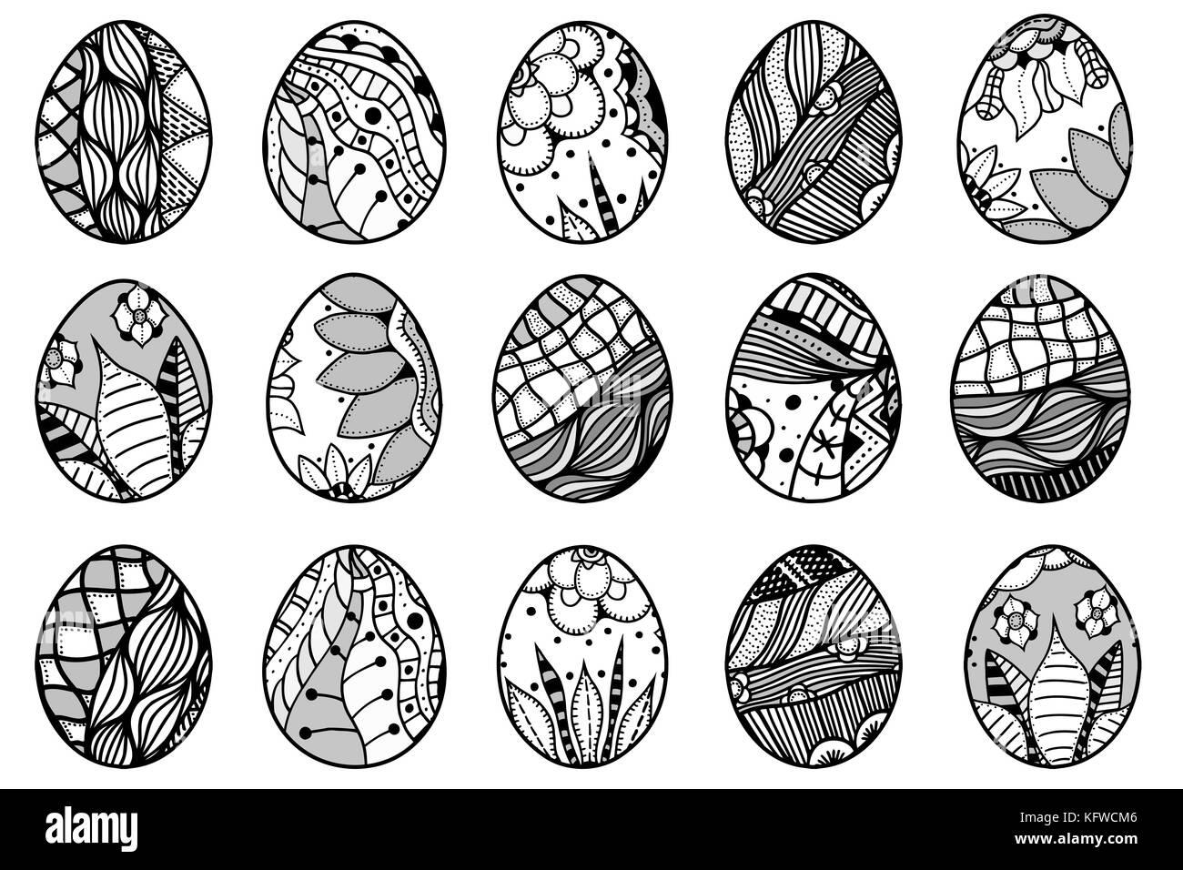 Dibujadas a mano los huevos de Pascua para colorear y elementos de ...