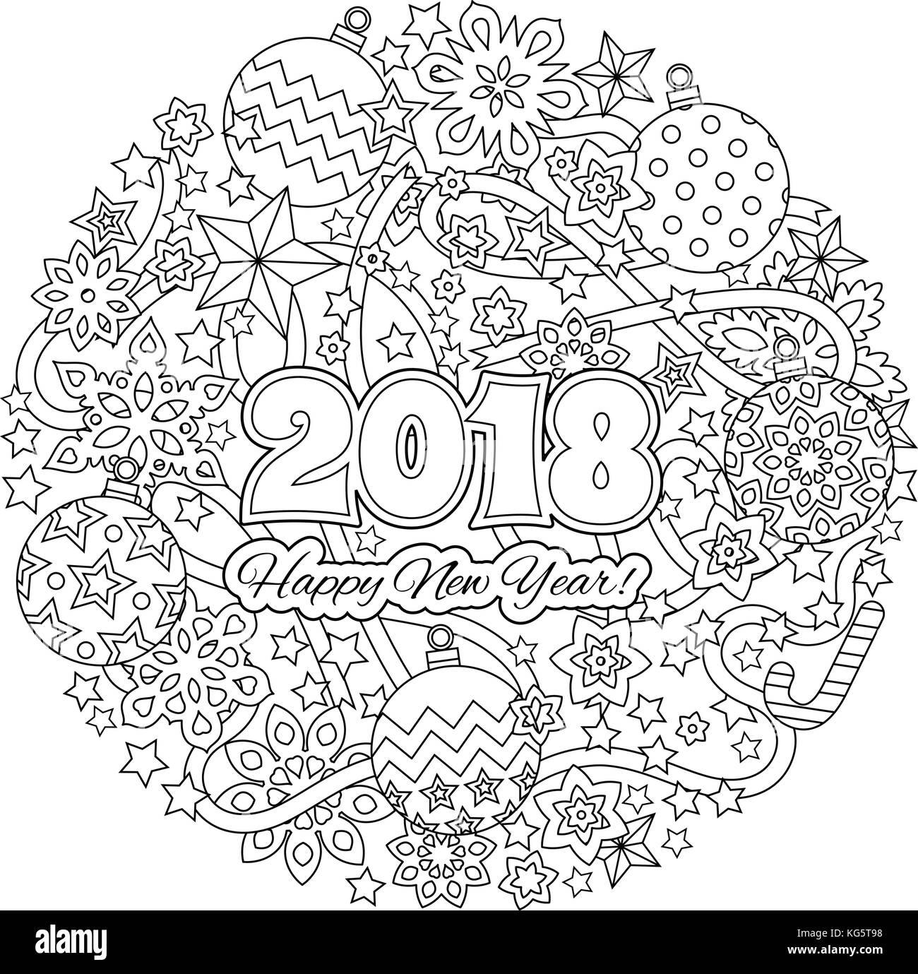 Año nuevo 2018 números mandala con fondo de copos de nieve en el ...