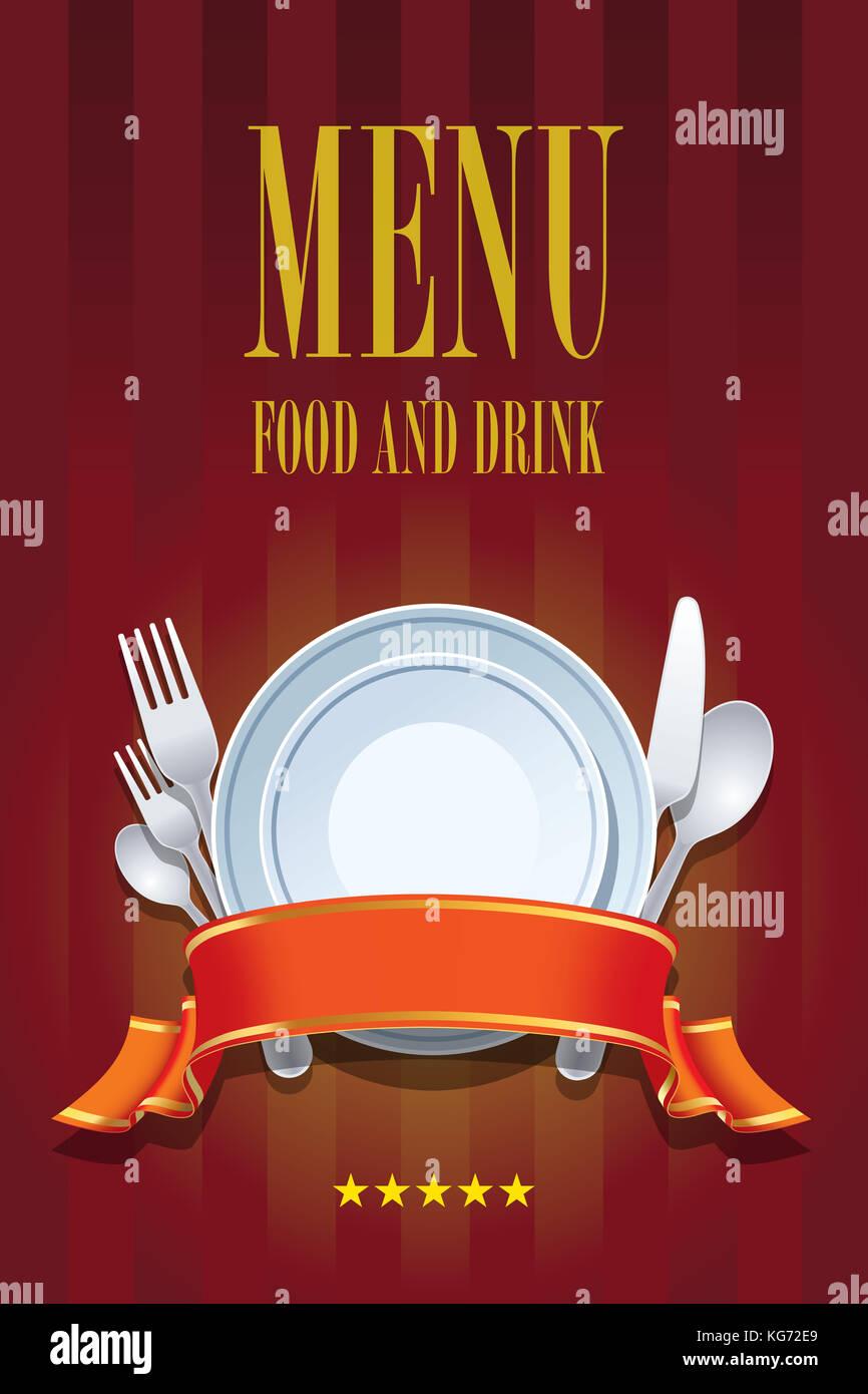 Restaurante Menú diseño de portada de folleto. Cubra la plantilla de ...