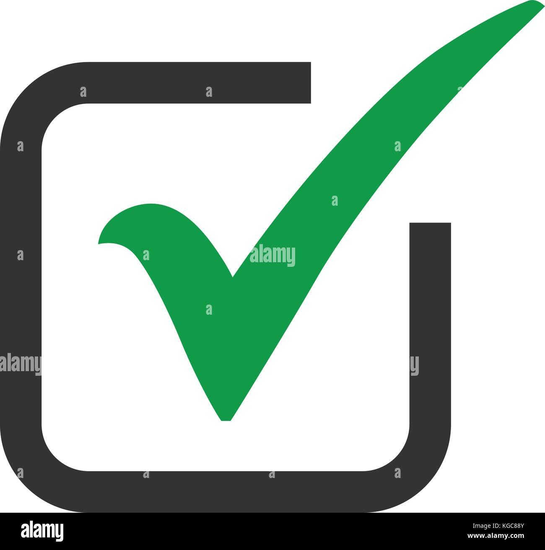 Icono de marca de verificación verde en un cuadro resaltado en gris ...