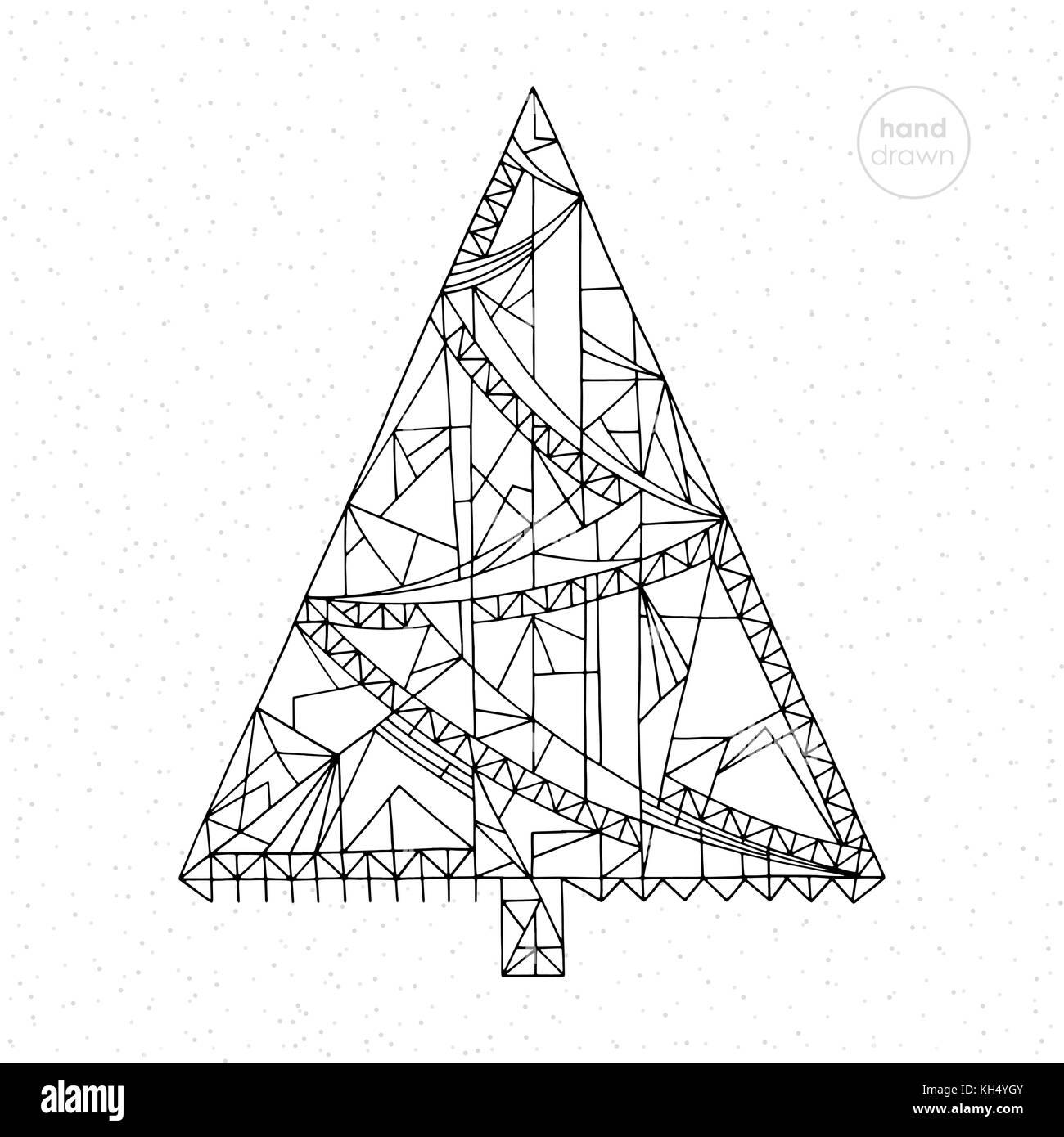 Árbol de navidad dibujado a mano ilustración vectorial. Resumen ...