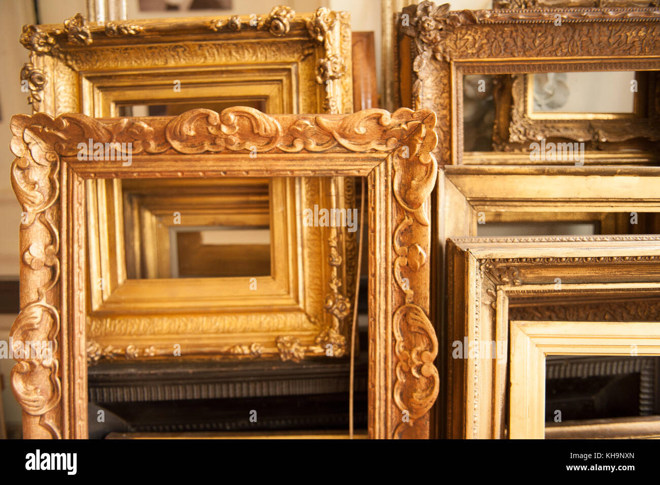 Colección de clásicos dorados grandes hojas de oro marcos de imagen ...