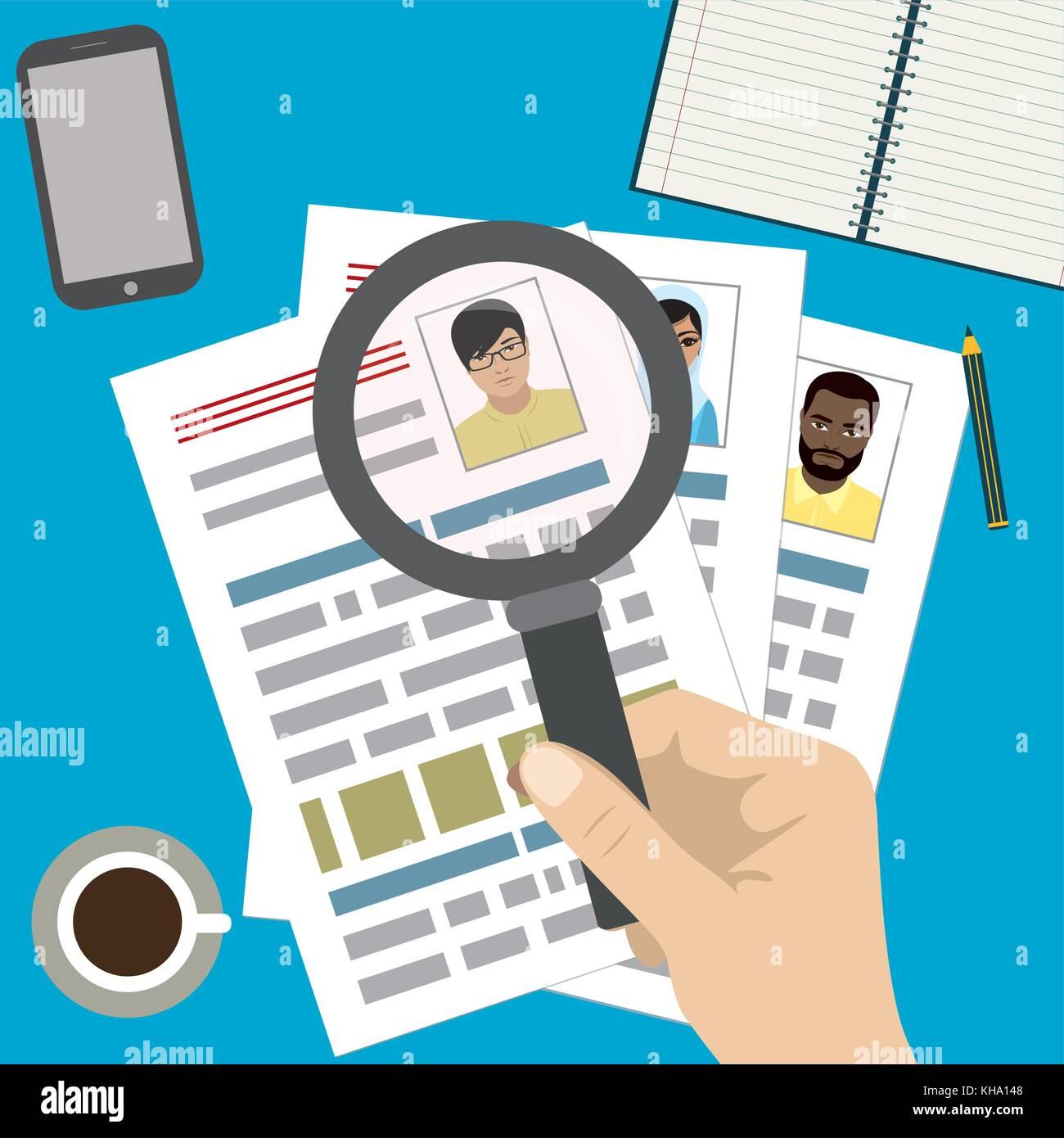 Búsqueda de personal profesional, trabajo, analizando reanudar ...