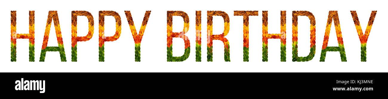 Word feliz cumpleaños escrito con hojas blancas antecedentes ...