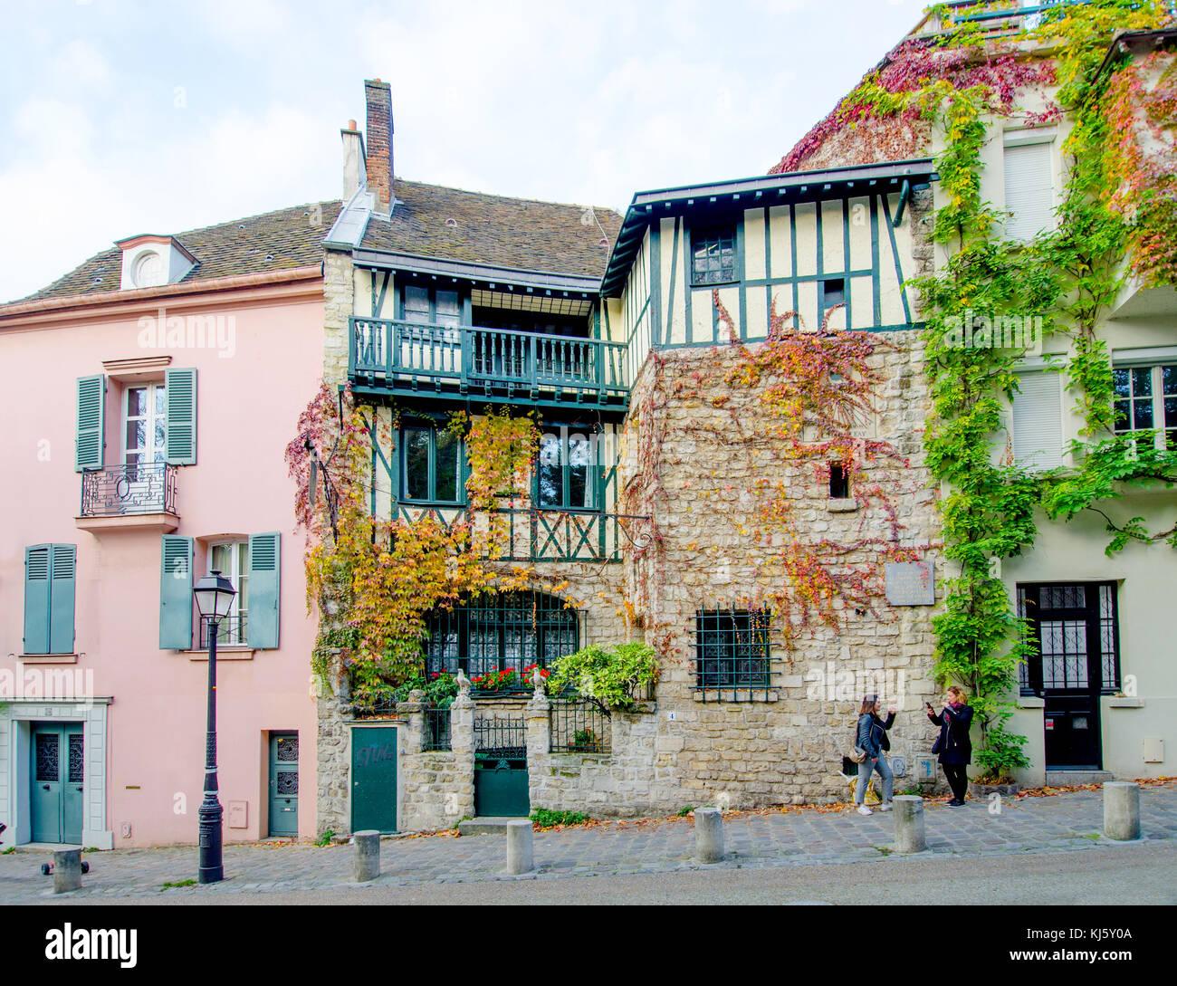 París, Francia. Montmartre. 4, rue de l\'abreuveoir, hogar de Henri ...