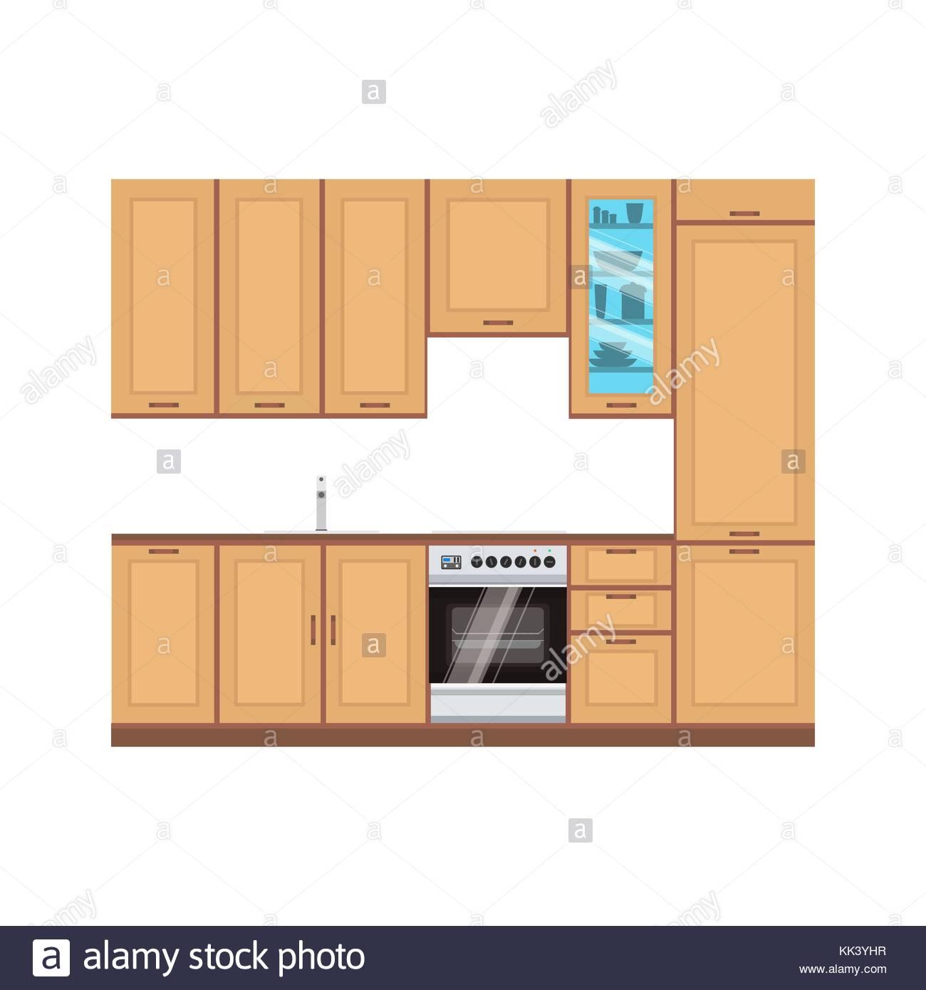 Cocina interiores de diseño vectorial ilustración moderna habitación ...