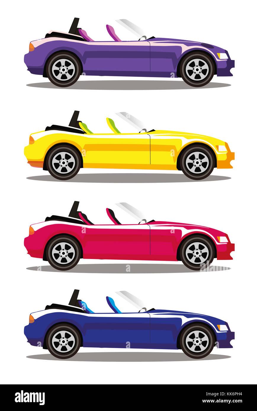 Conjunto De Modernos Colores De Dibujos Animados Cabriolet Coches