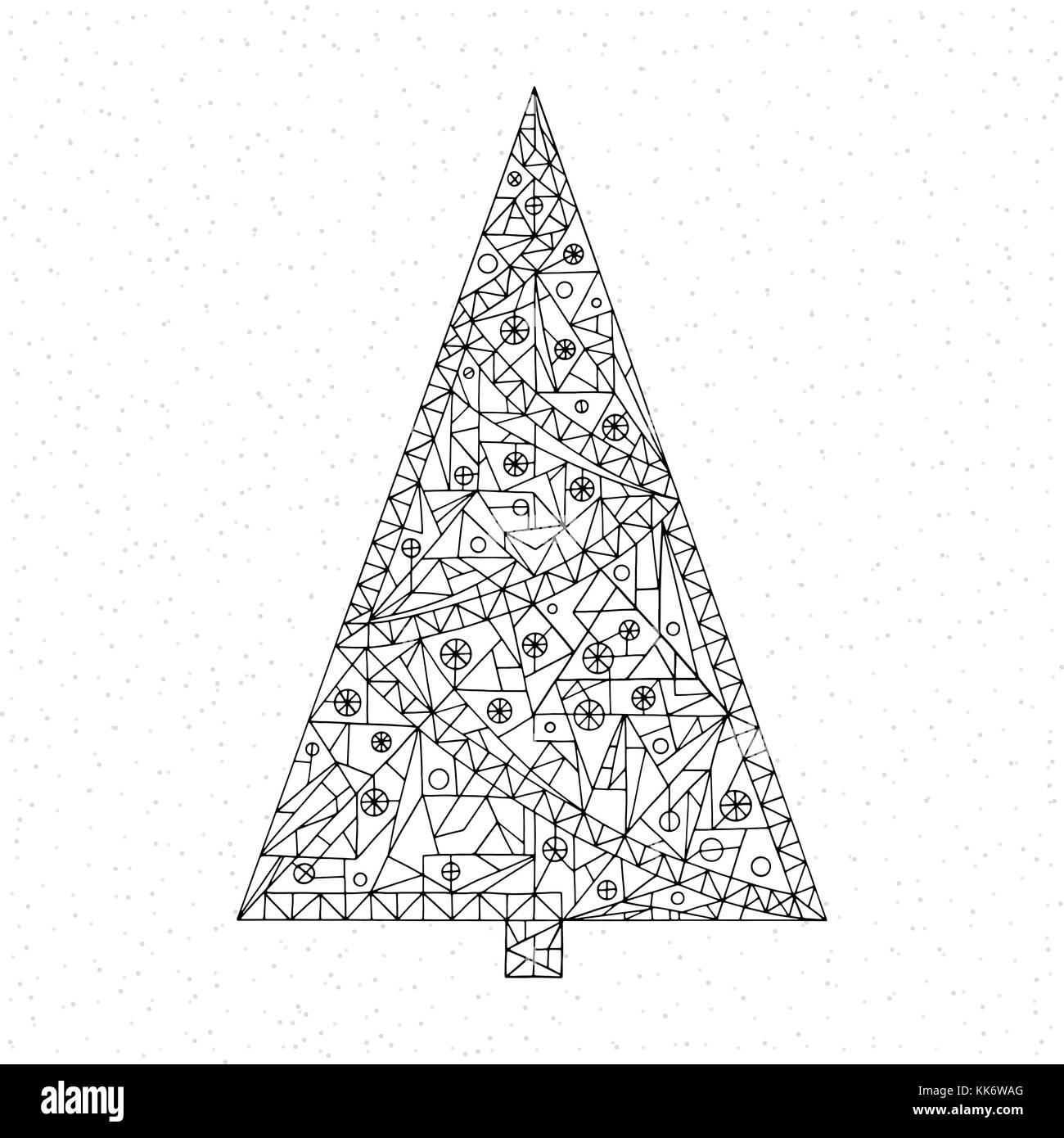 Árbol de navidad para colorear. página vacaciones de invierno ...
