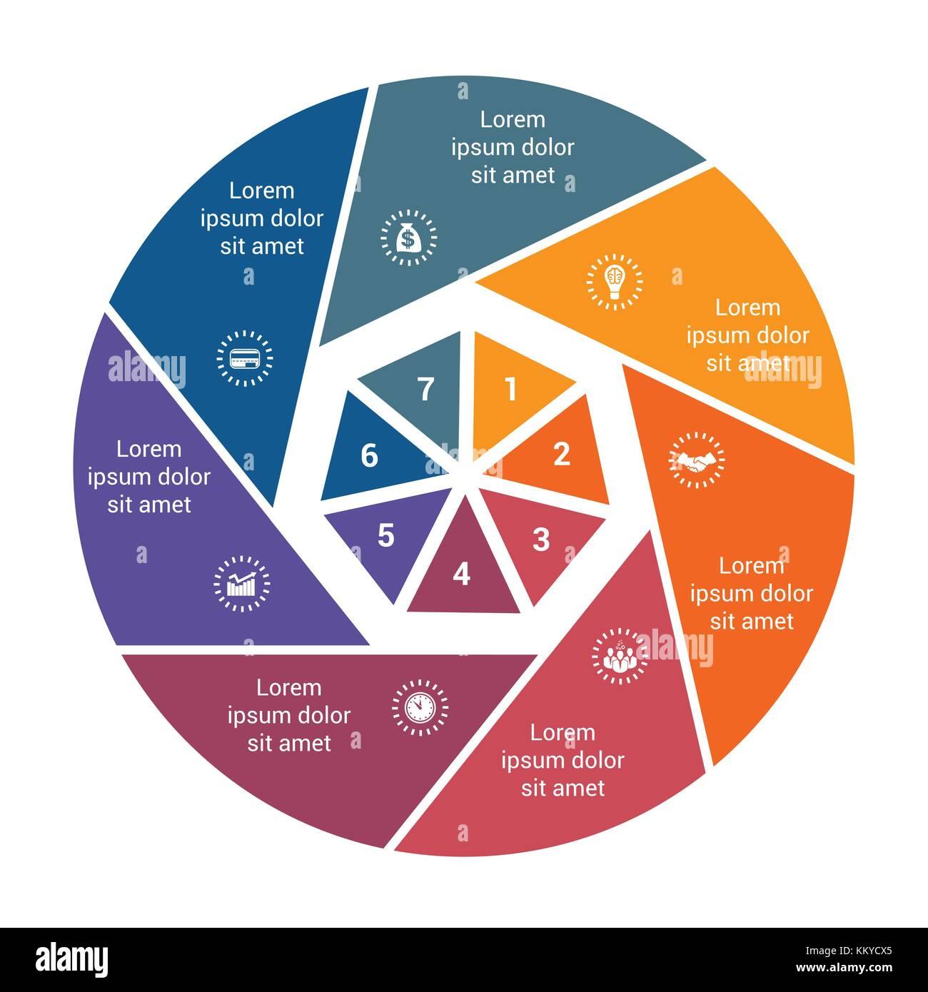 Gráfico de tarta de negocios infografía para 7 opciones paso a paso ...