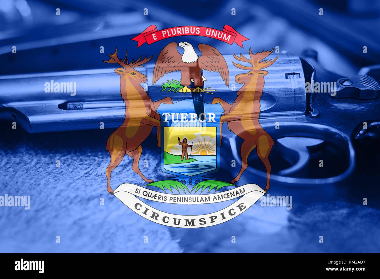 La bandera del estado de Michigan (Estados Unidos) Gun Control USA ...