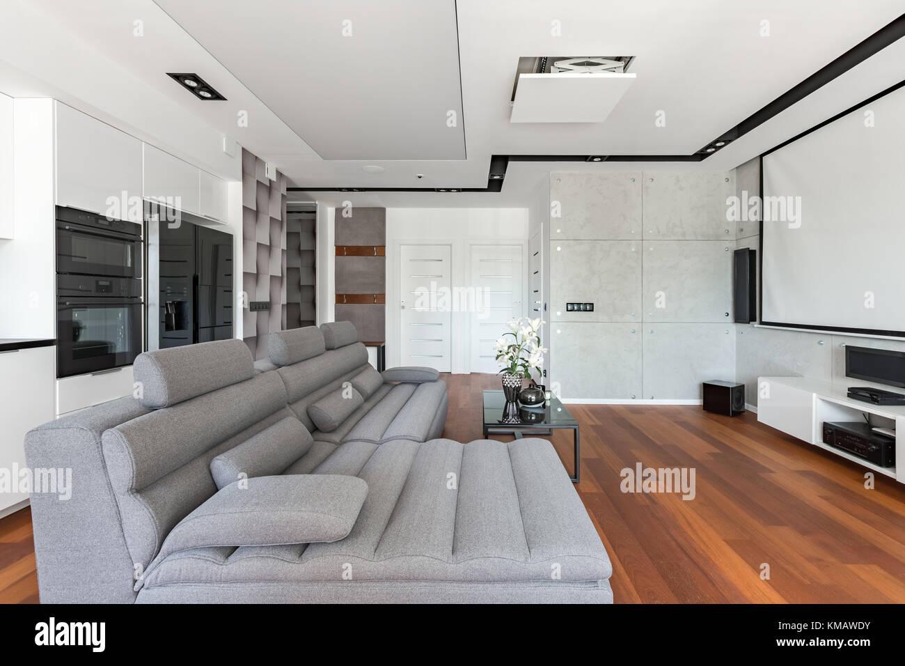 Salón moderno con pantalla para proyector, sofá y cocina Foto ...