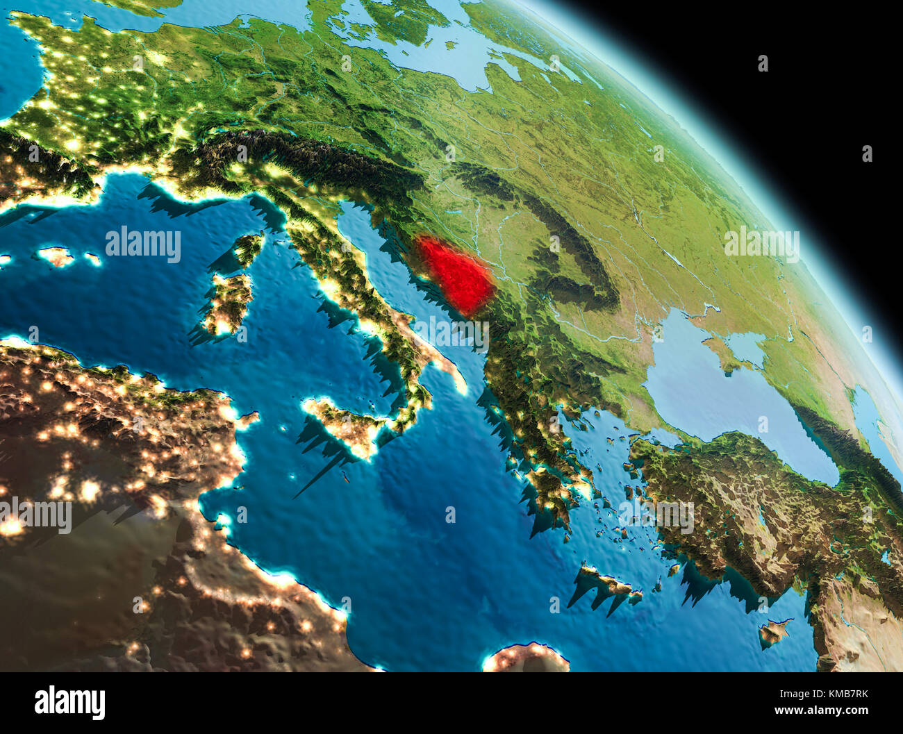 Por La Mañana Vista Satelital De Bosnia Y Herzegovina Resaltada En
