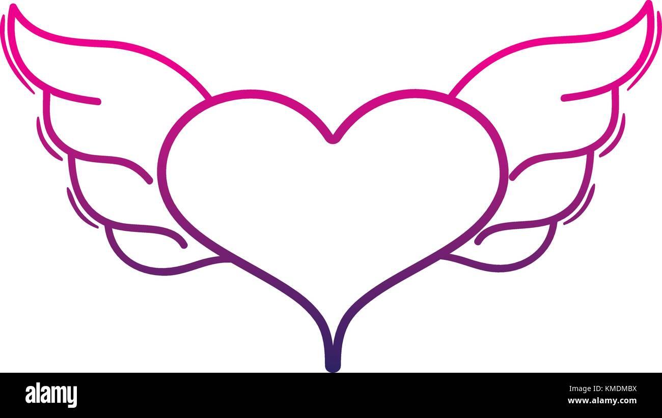 Línea De Color Corazón Con Alas Símbolo Del Arte Del Amor