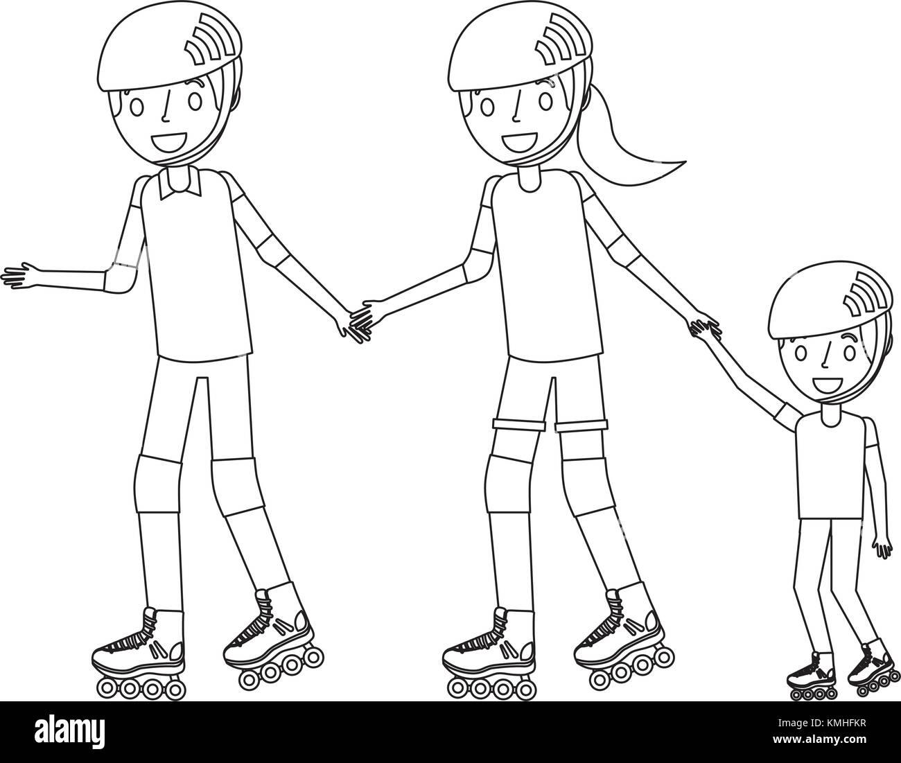 Papá Mamá E Hijo Con Patines Y Casco Ilustración Del Vector Imagen