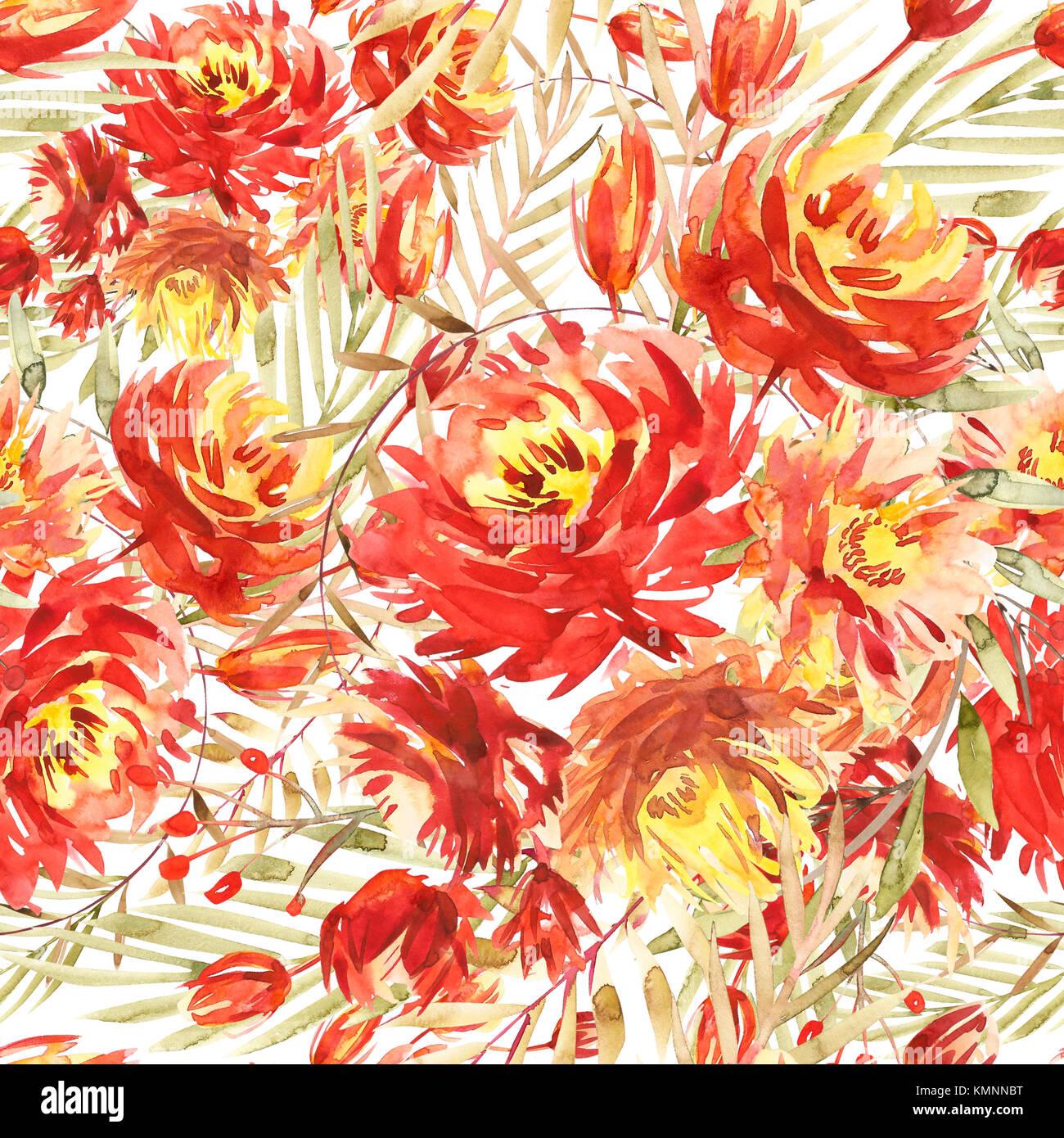 Patrón sin fisuras con grandes flores acuarela por red peonías ...