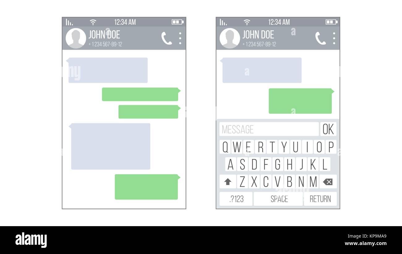 Kit de interfaz de usuario móvil Messenger Vector. Plantilla de ...
