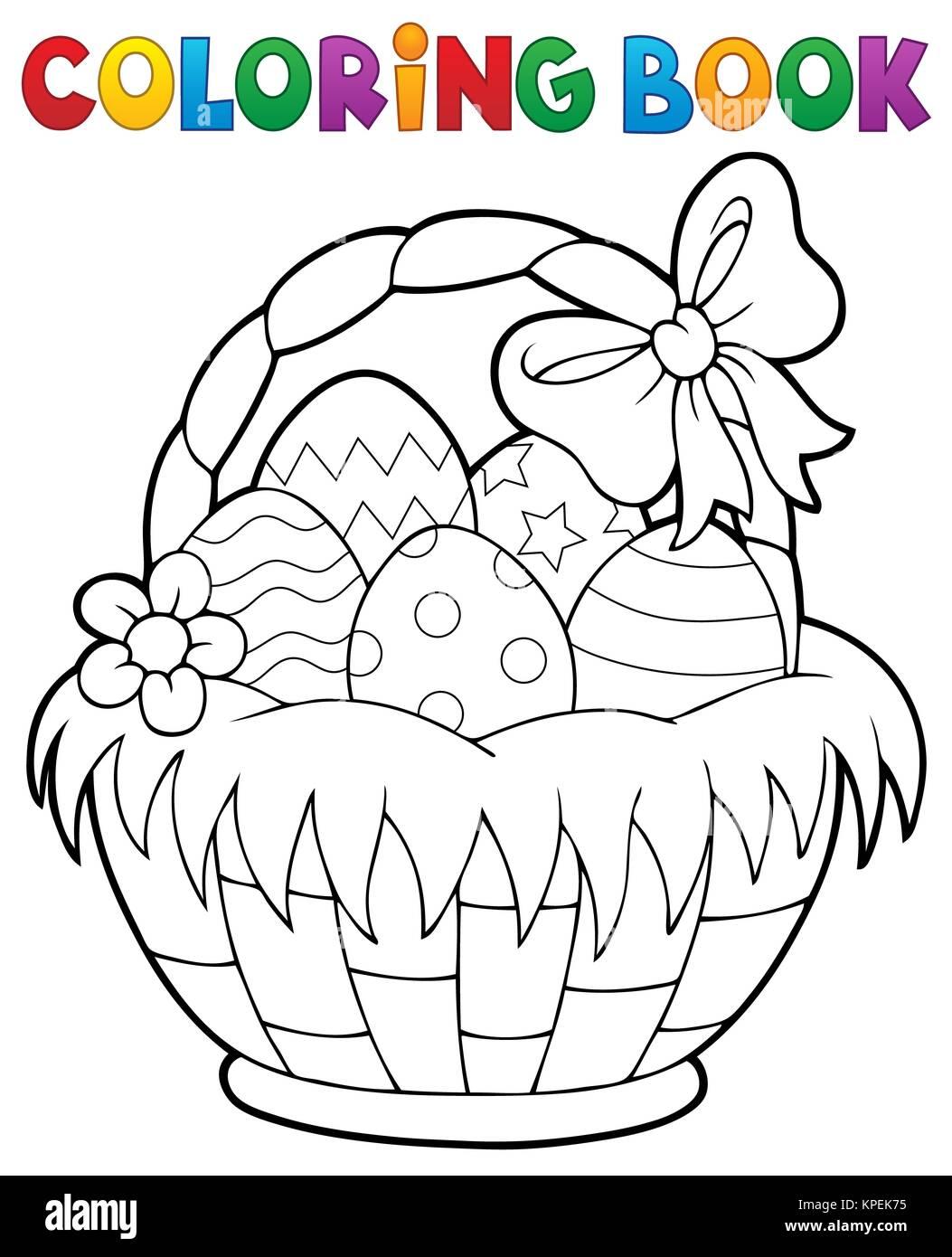 Libro para colorear de canasta de Pascua Tema 1 Foto & Imagen De ...