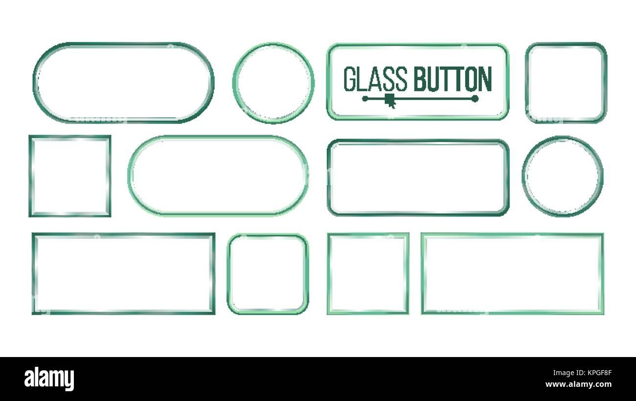 Botones de cristal, marcos de Vector. Cuadrados, redondos ...