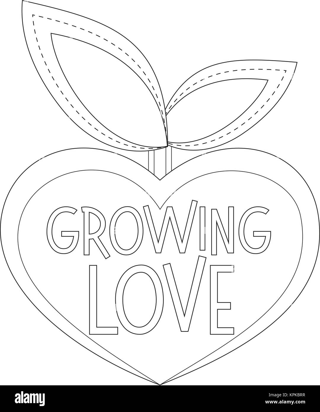 Crece el amor Póster en blanco y negro con planta en forma de ...