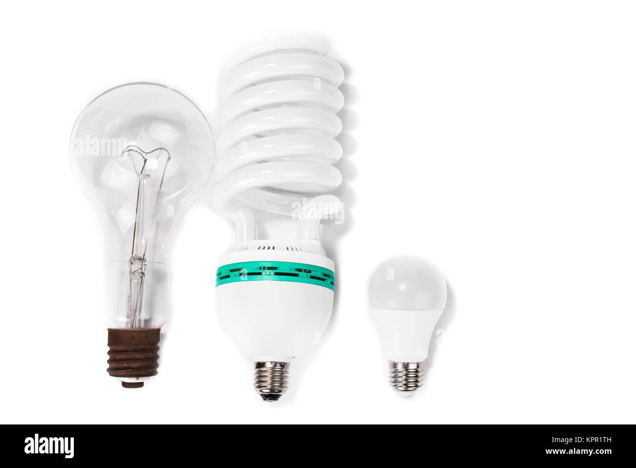 Lámpara fluorescente compacta clásica versus versus nuevas bombillas ...