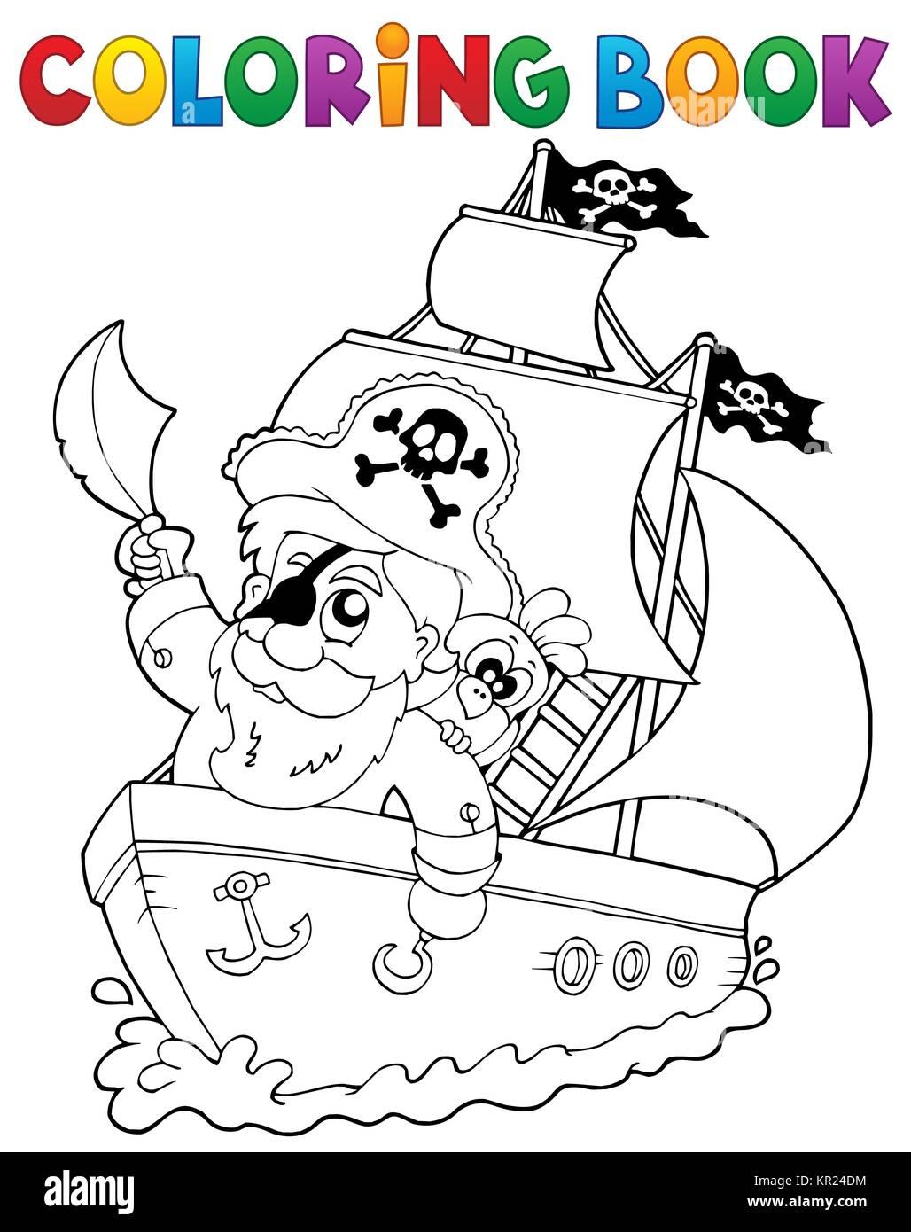 Único Imprimible Barco Pirata Para Colorear Componente - Enmarcado ...