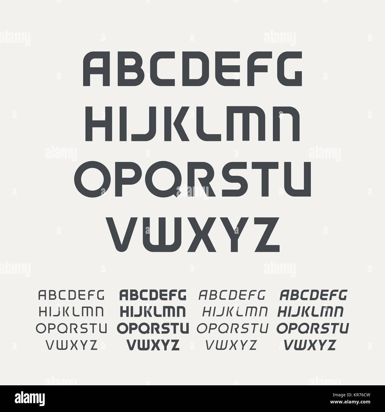 Deporte alfabeto en mayúsculas. Fuente de tecnología futurista ...