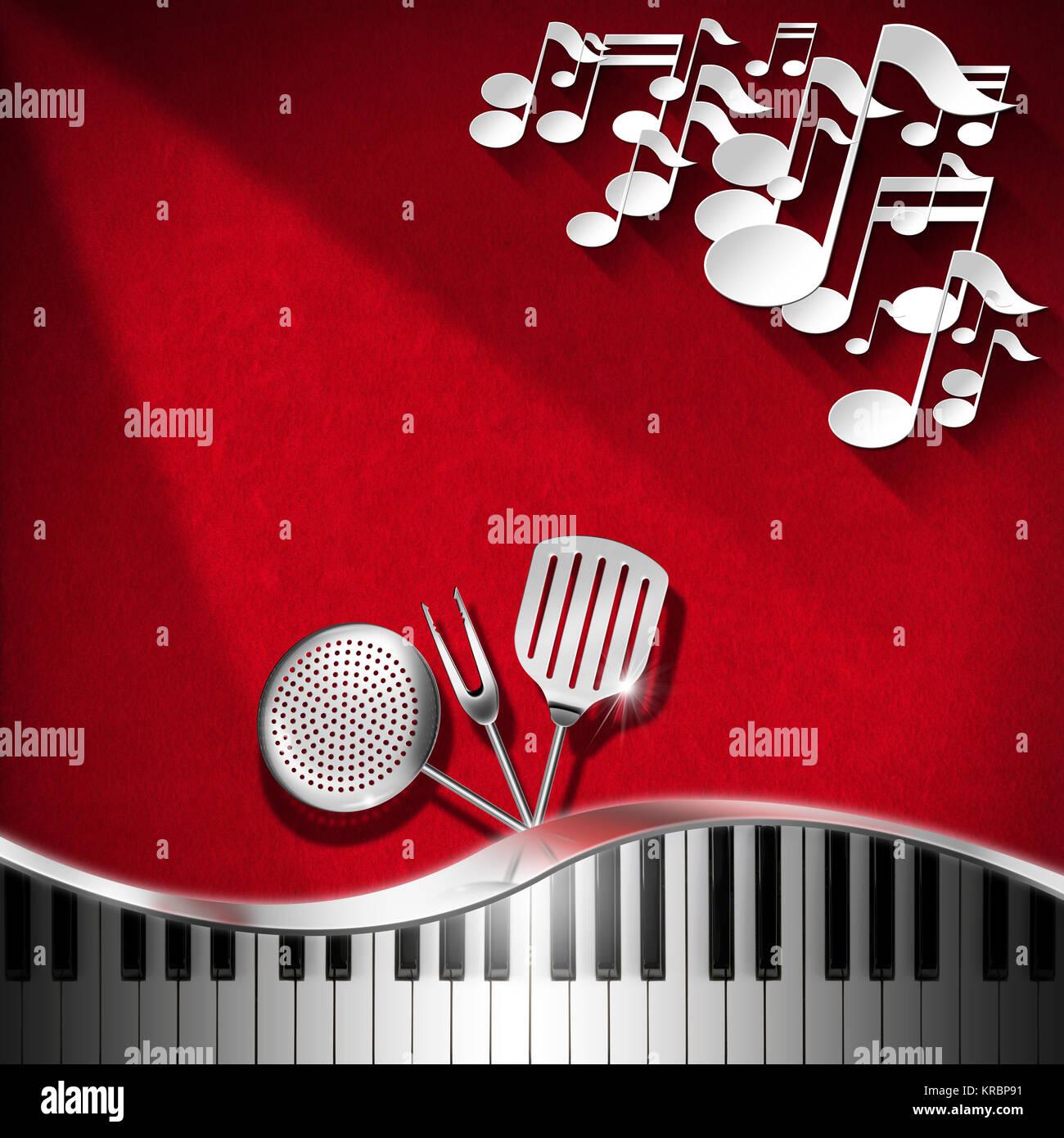 Fondo de terciopelo rojo con utensilios de cocina, blanco y las ...