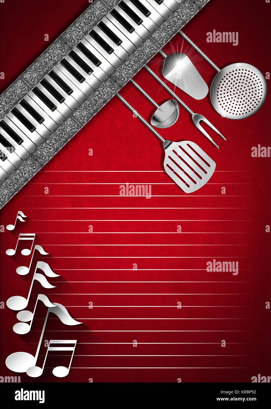 Fondo de terciopelo rojo con utensilios de cocina, diagonal bandas ...