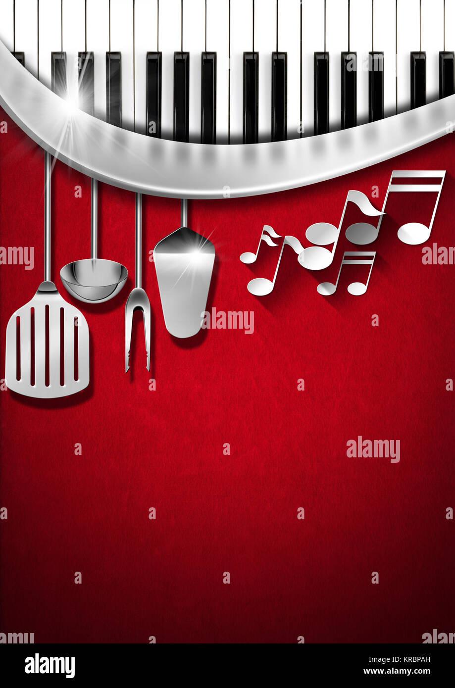 Fondo de terciopelo rojo con utensilios de cocina, notas musicales y ...