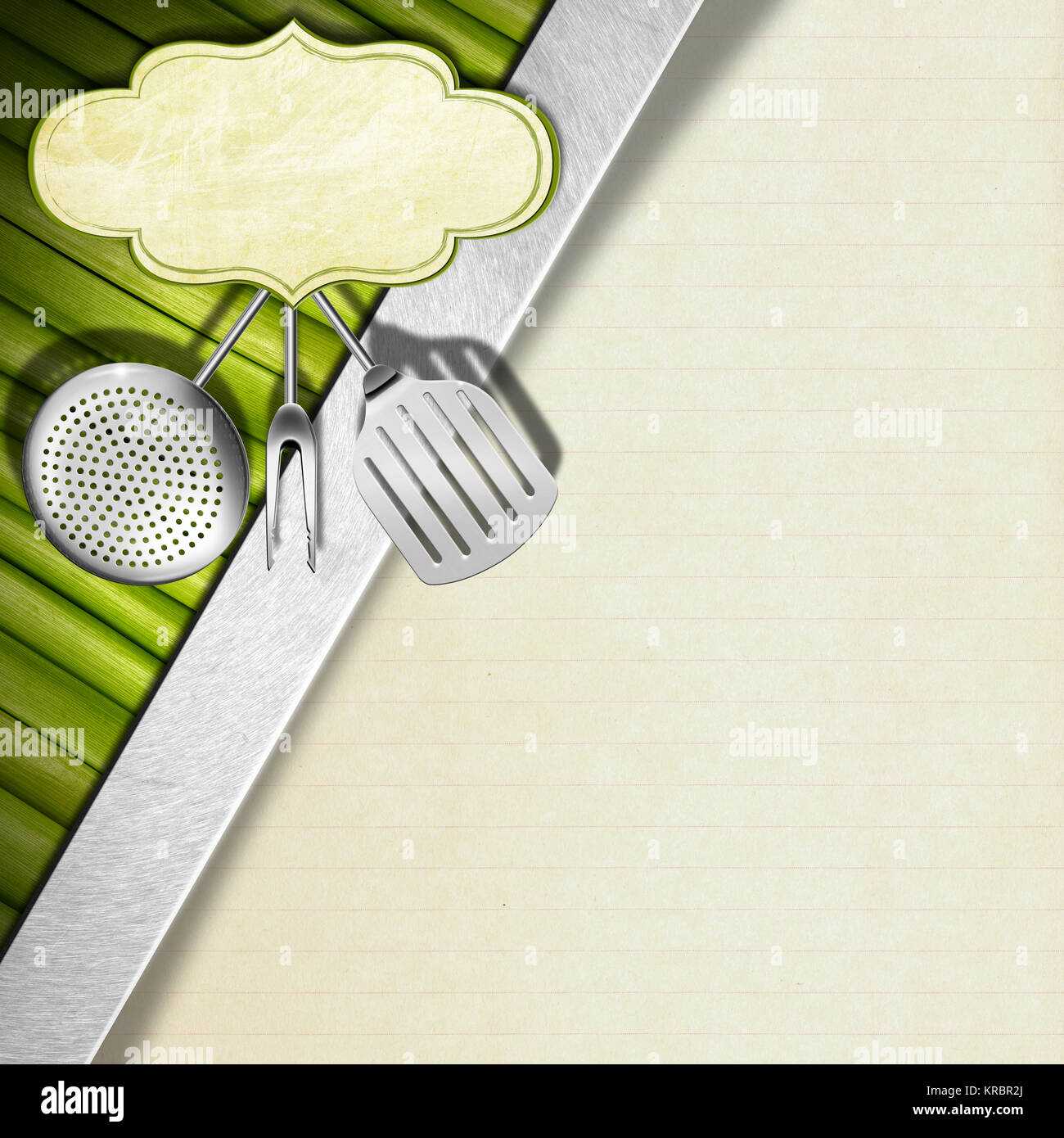 Fondo con verduras, utensilios de cocina y etiqueta vacía, diagonal ...