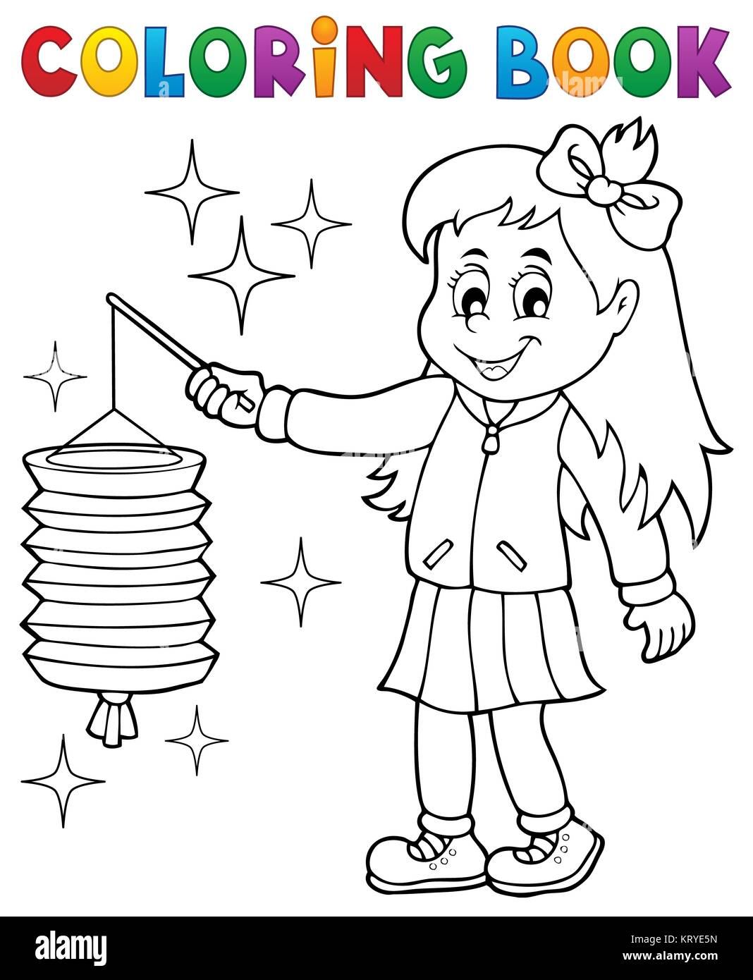 Libro para colorear chica con linterna de papel Foto & Imagen De ...