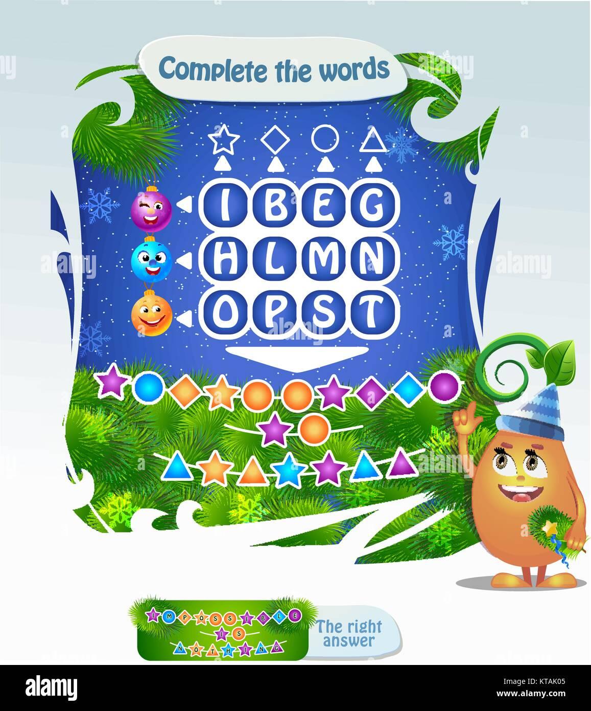 Palabras Puzzle Juego Educativo Para Ninos Tarea Completar Las