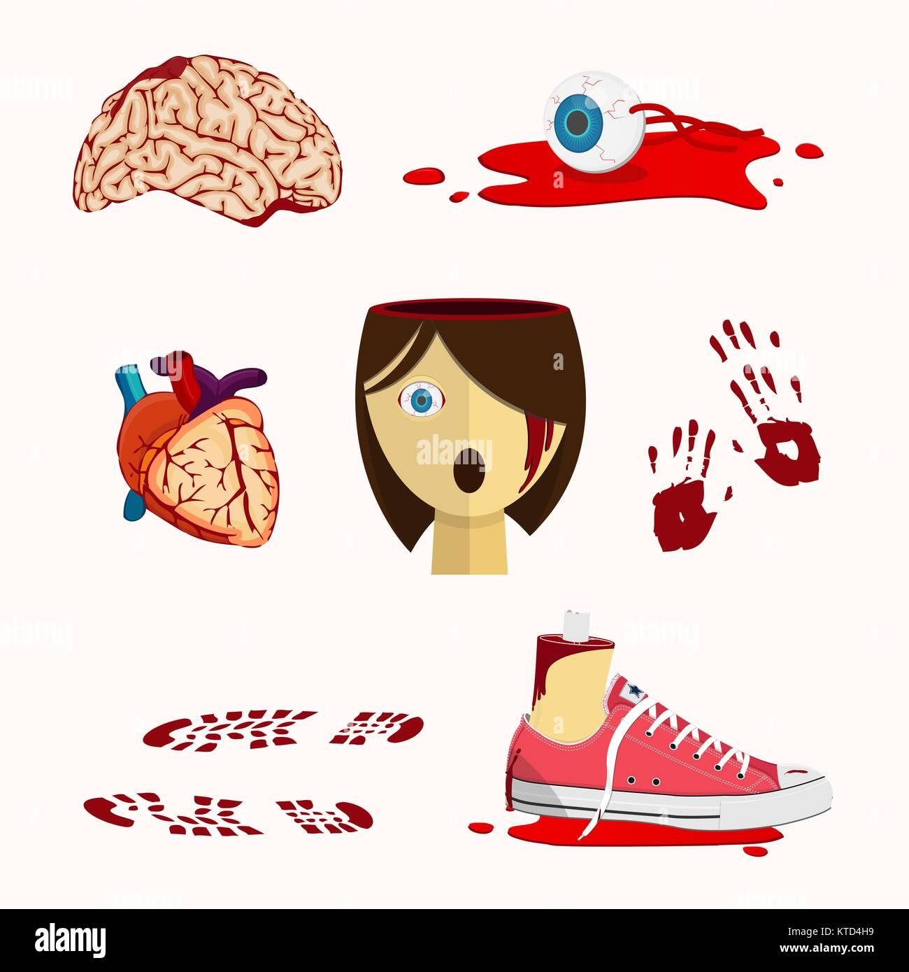 Sangrienta de órganos y partes del cuerpo humano en estilo de ...
