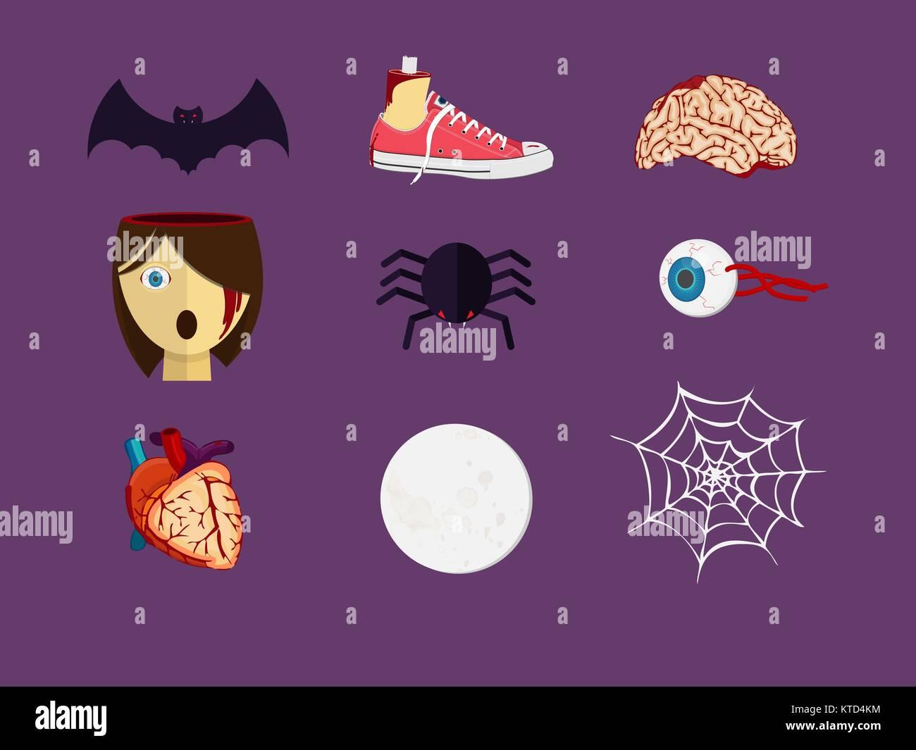 Decoraciones de piezas de Halloween. Sangrienta órganos y partes del ...