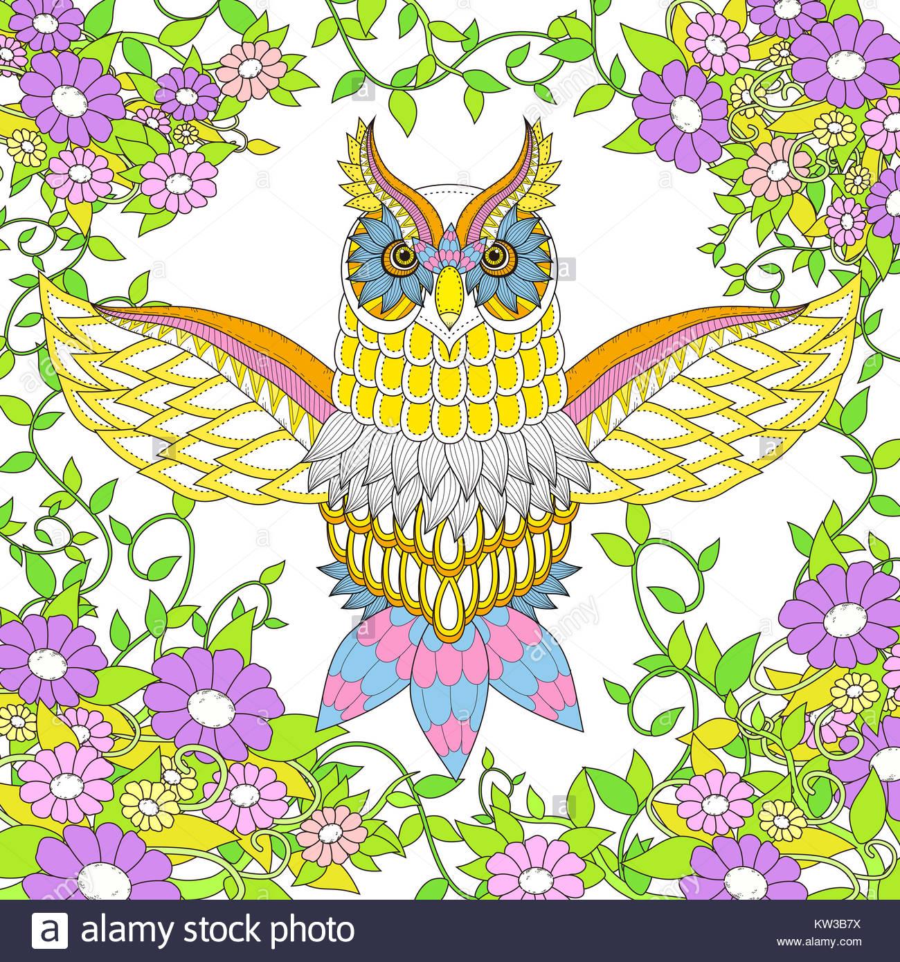 Búho hermoso diseño de páginas para colorear en un exquisito estilo ...