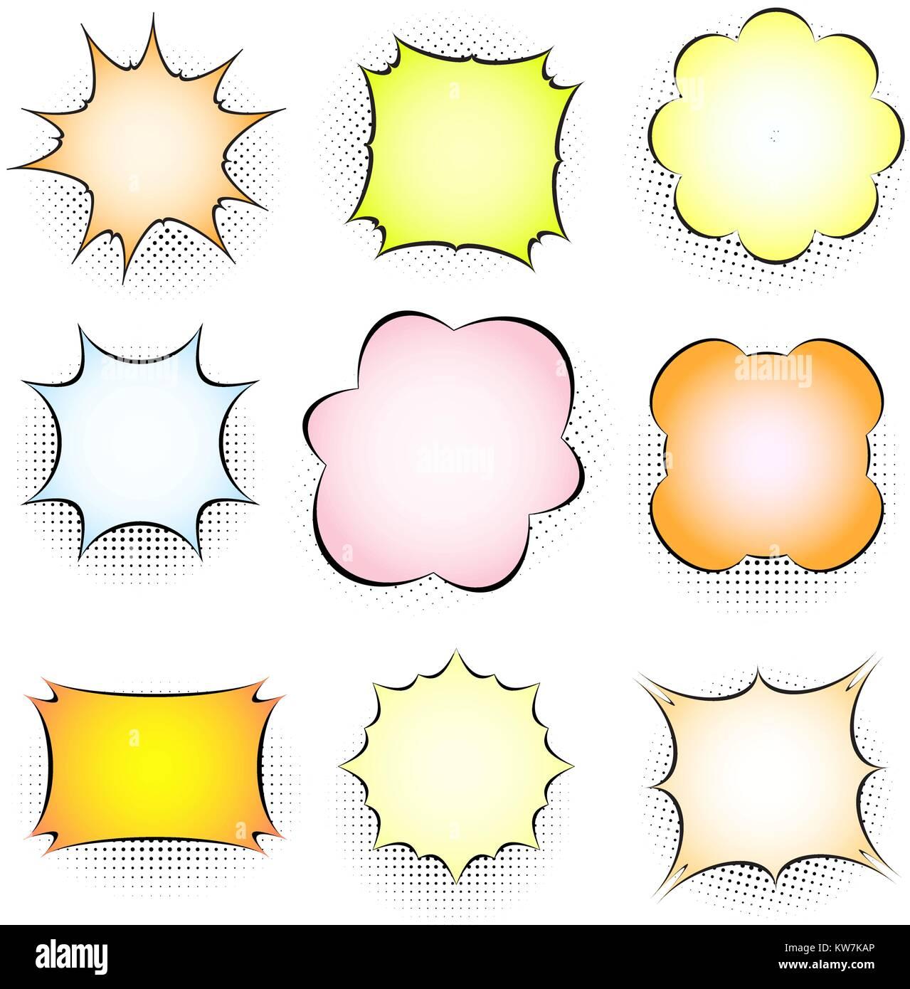 Conjunto de vacío cuadro cómico, hablando de burbujas. Colección de ...