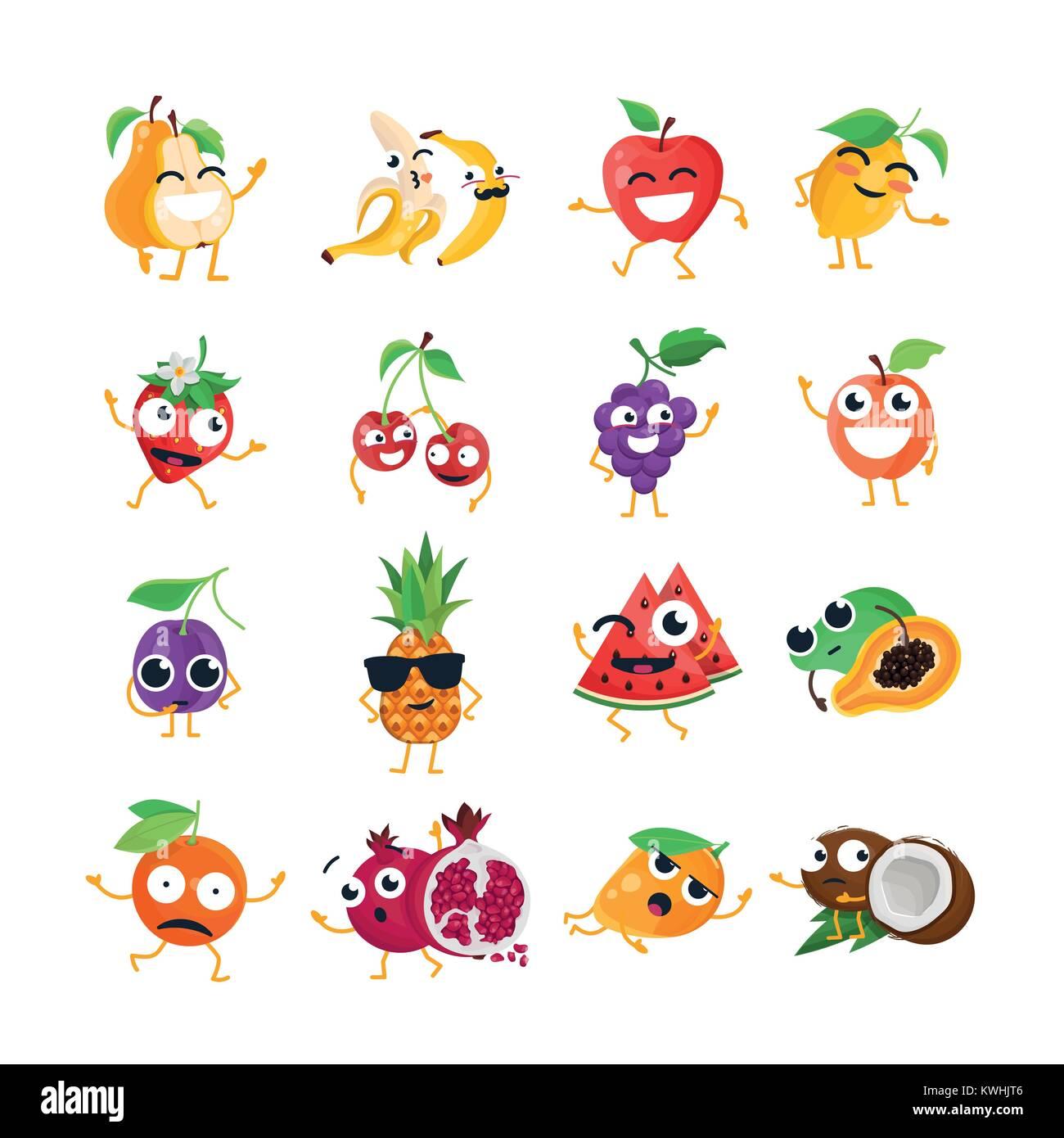 gracioso frutas vector emoticonos animados aislado ilustración del