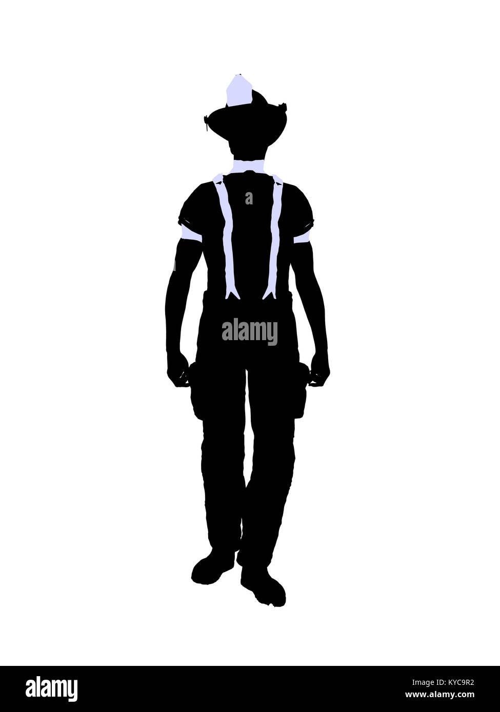 El bombero macho ilustración silueta sobre un fondo blanco Foto ...