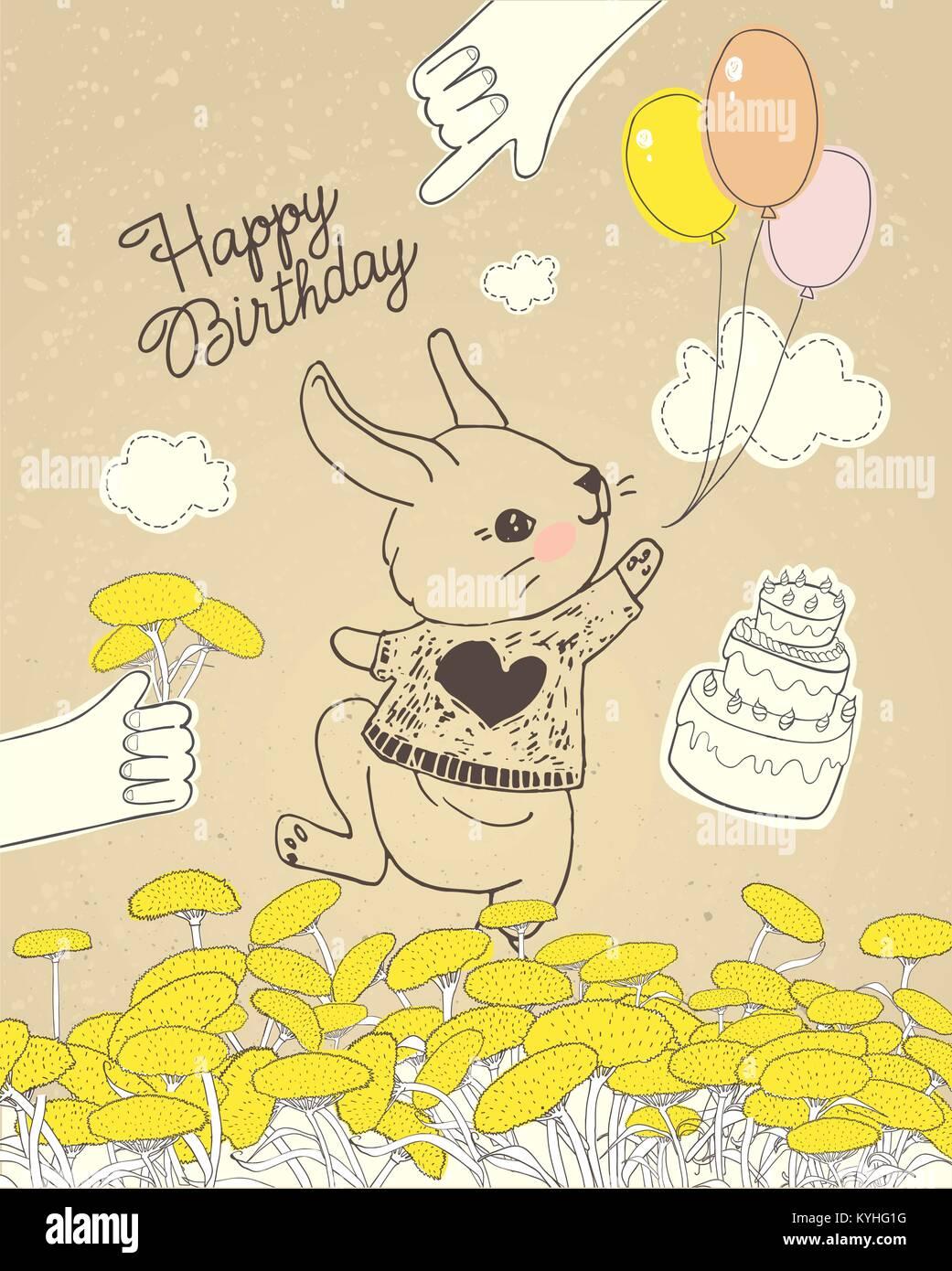 Dibujadas a mano conejo con globos de colores florales en la pradera ...