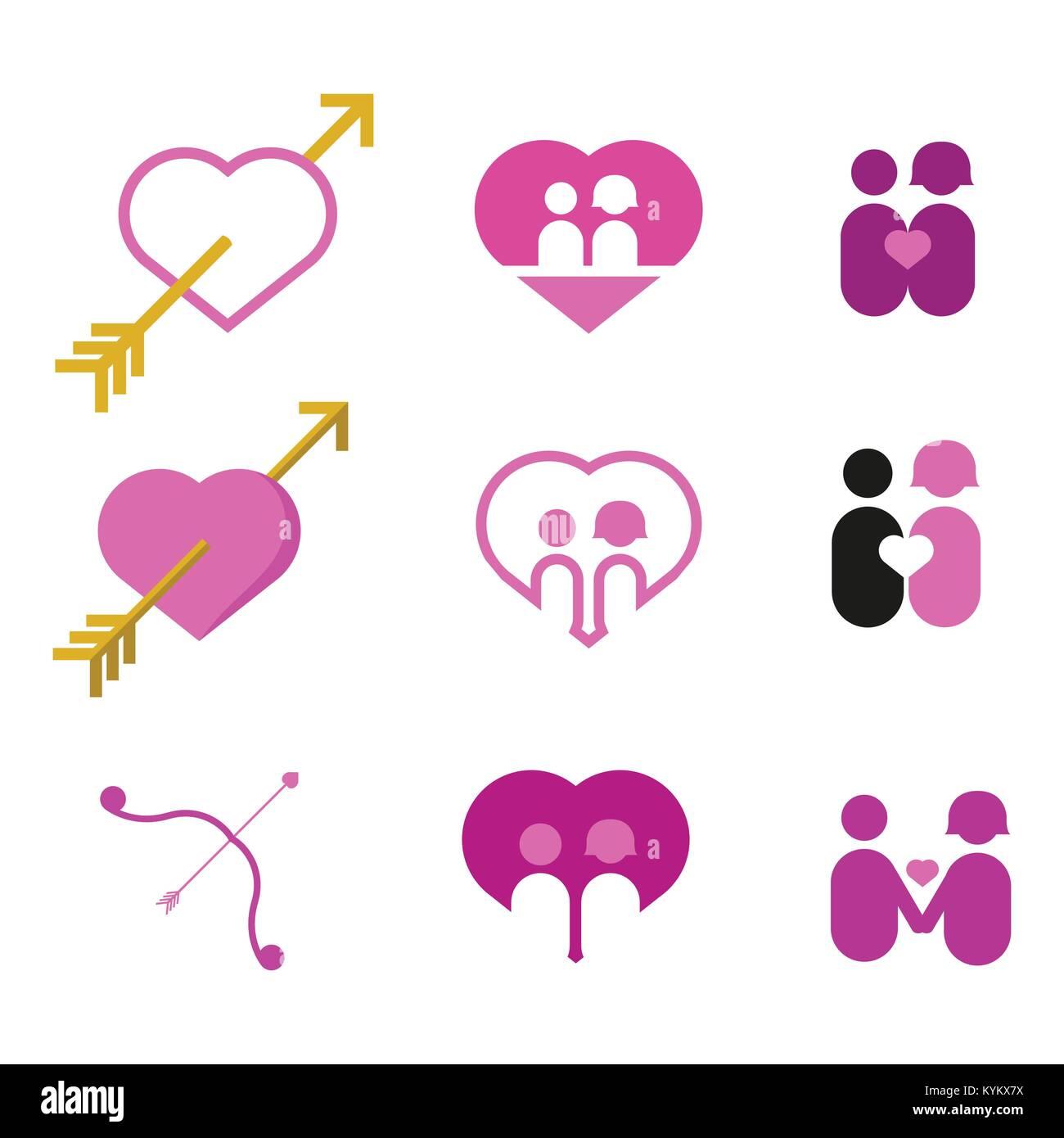 pareja de enamorados amor corazón ilustración vectorial diseño