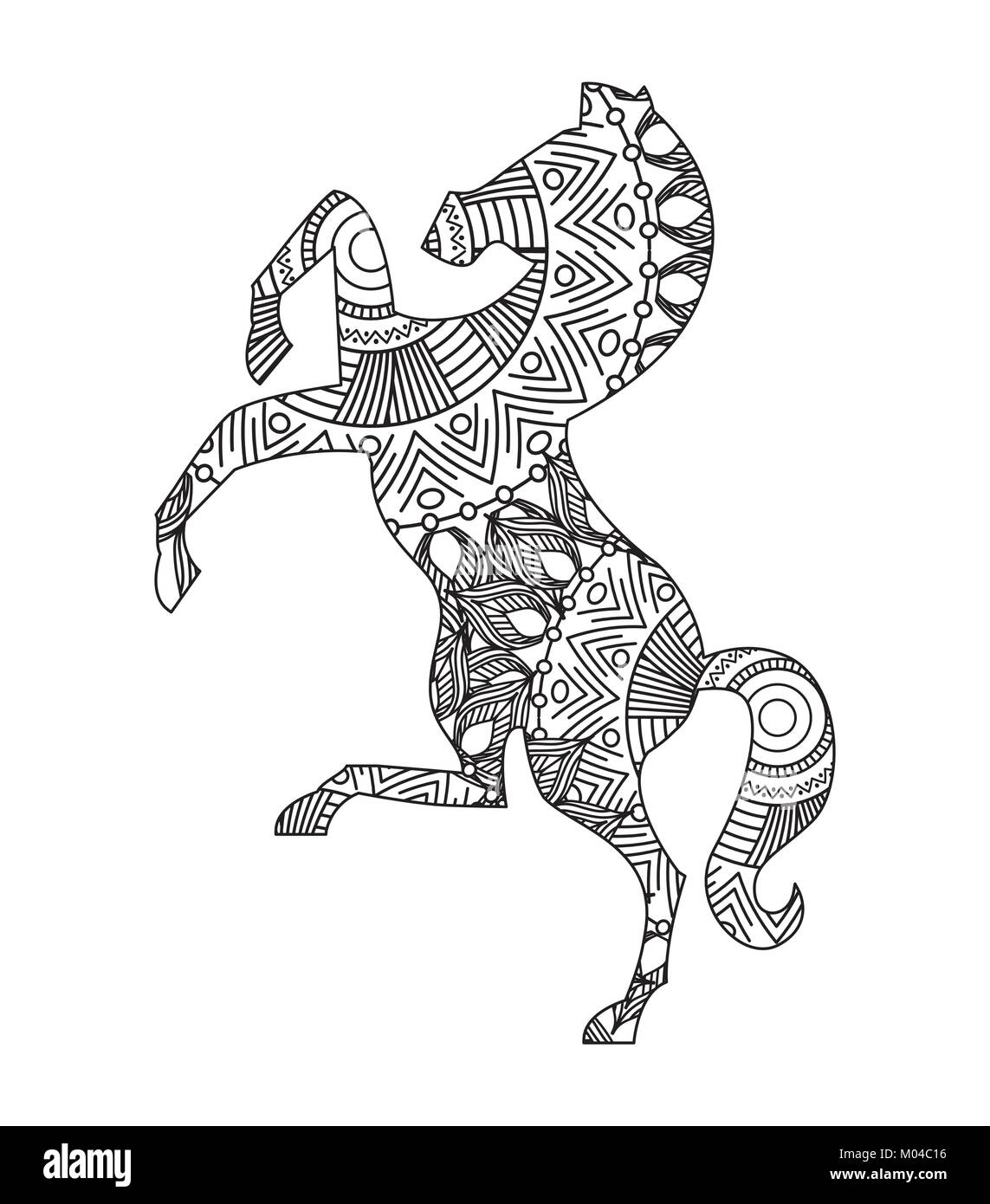 Dibujo de caballo para colorear zentangle adulto página Ilustración ...
