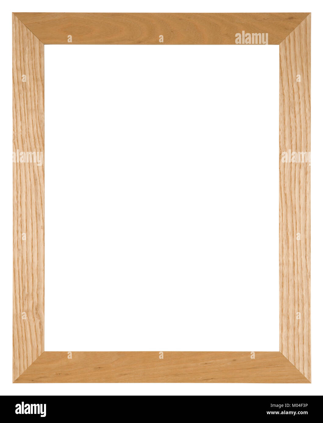 Marco de imagen vacío aislado en blanco en madera de roble de luz ...