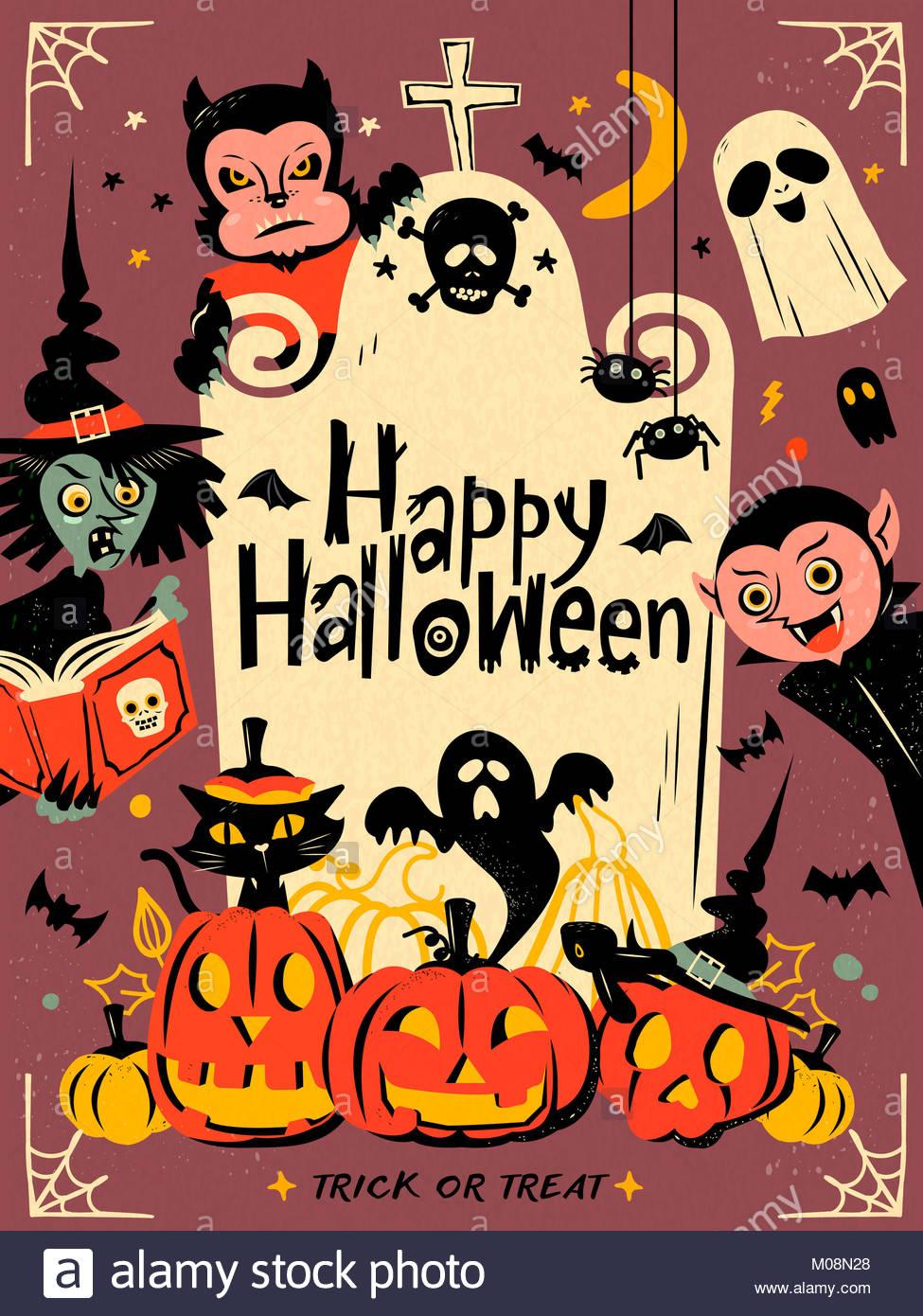 Feliz Halloween ilustración, wolfman, espeluznante, brujas y ...