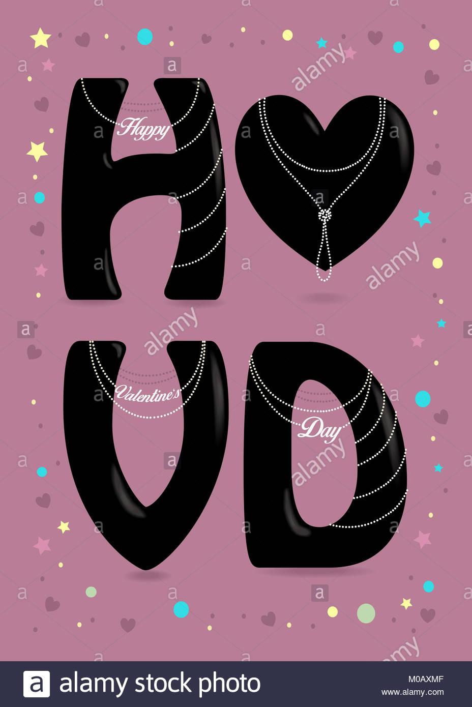 Feliz Día de San Valentín. Gran corazón negro y letras - H, V y D ...