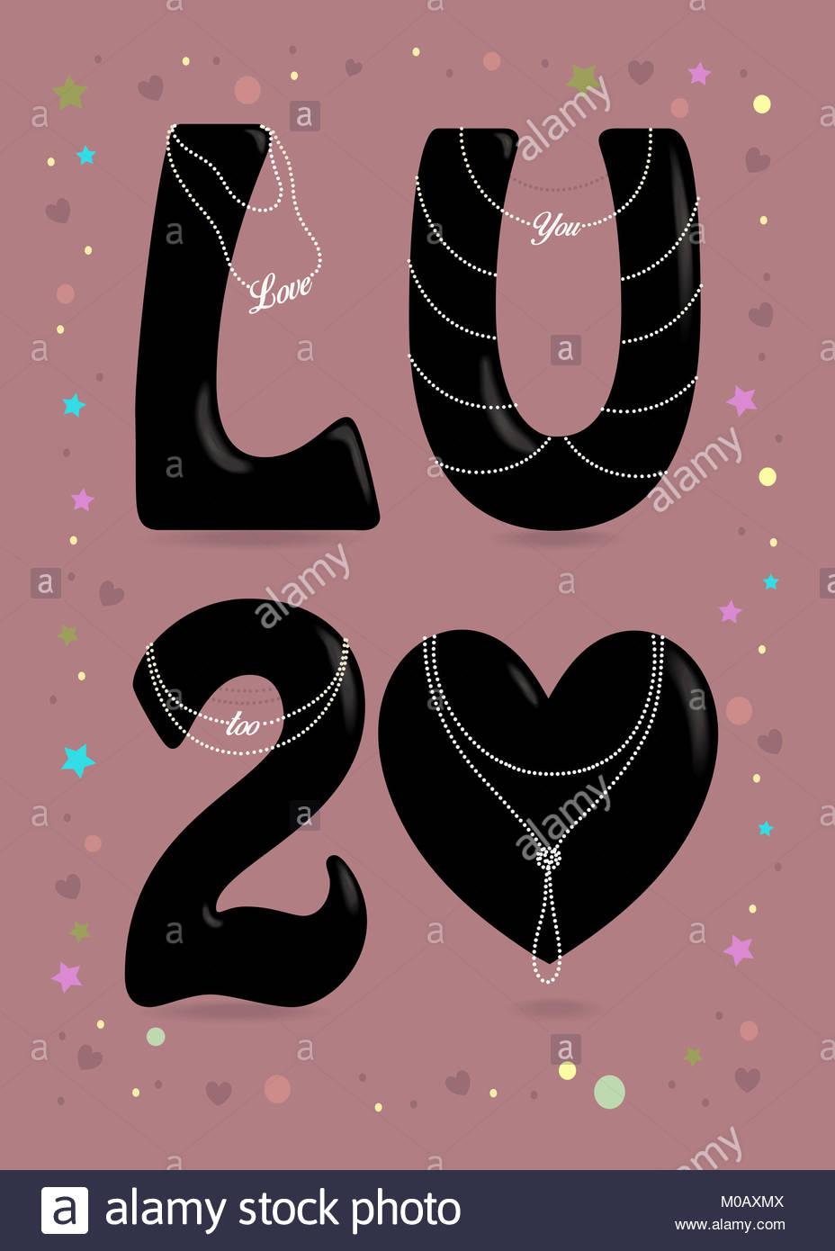 Te amo demasiado. Gran corazón negro y letras - L, U y el número 2 ...