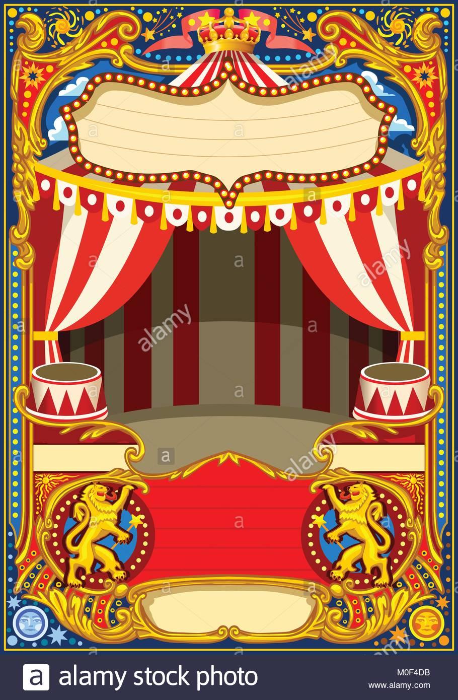 El circo cartoon poster tema. Vintage bastidor con carpa de circo ...
