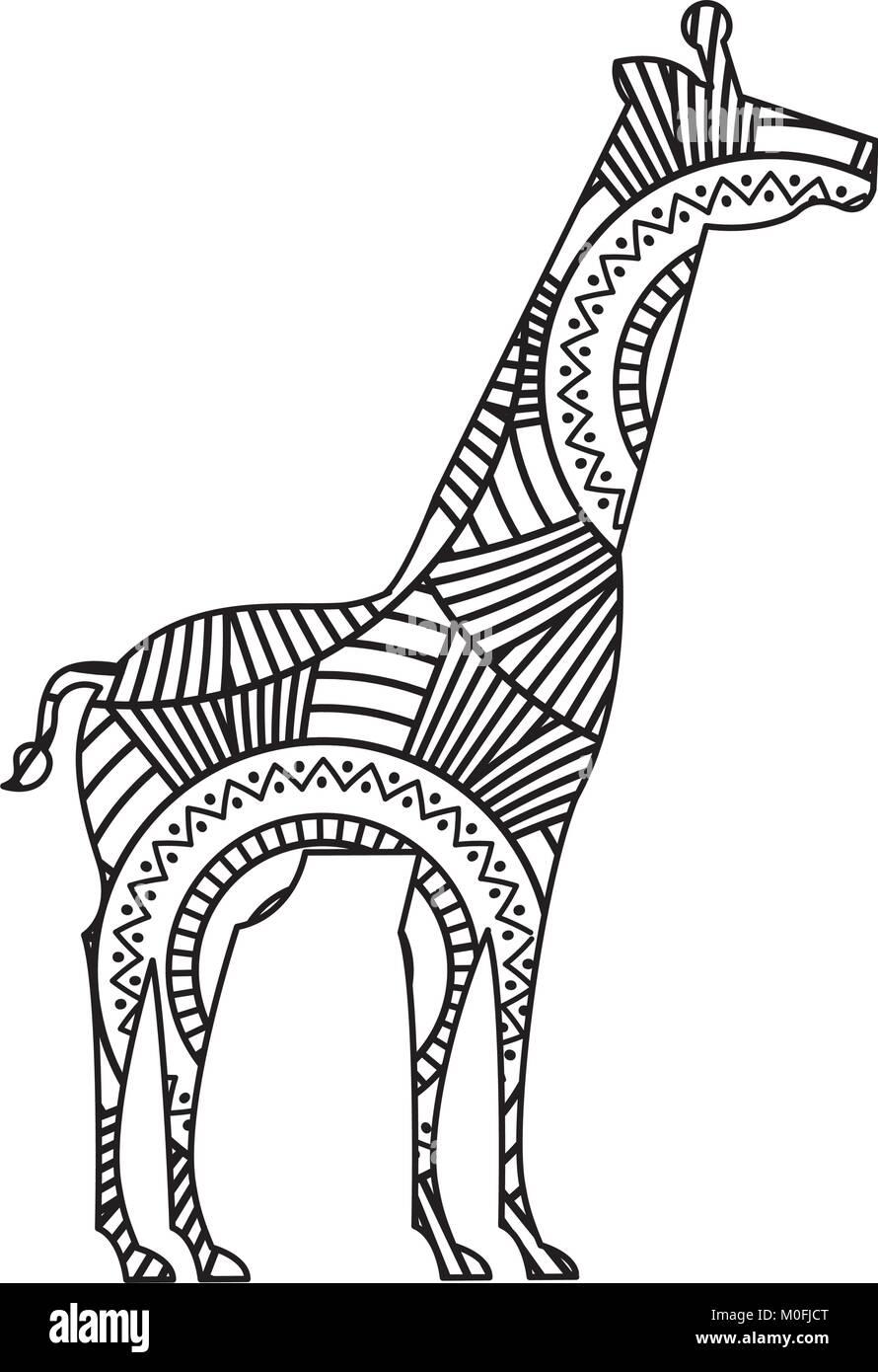 Dibujadas a mano para adultos páginas para colorear con jirafas ...