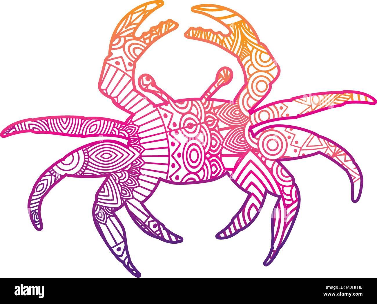 Dibujadas a mano para adultos páginas para colorear con cangrejo ...