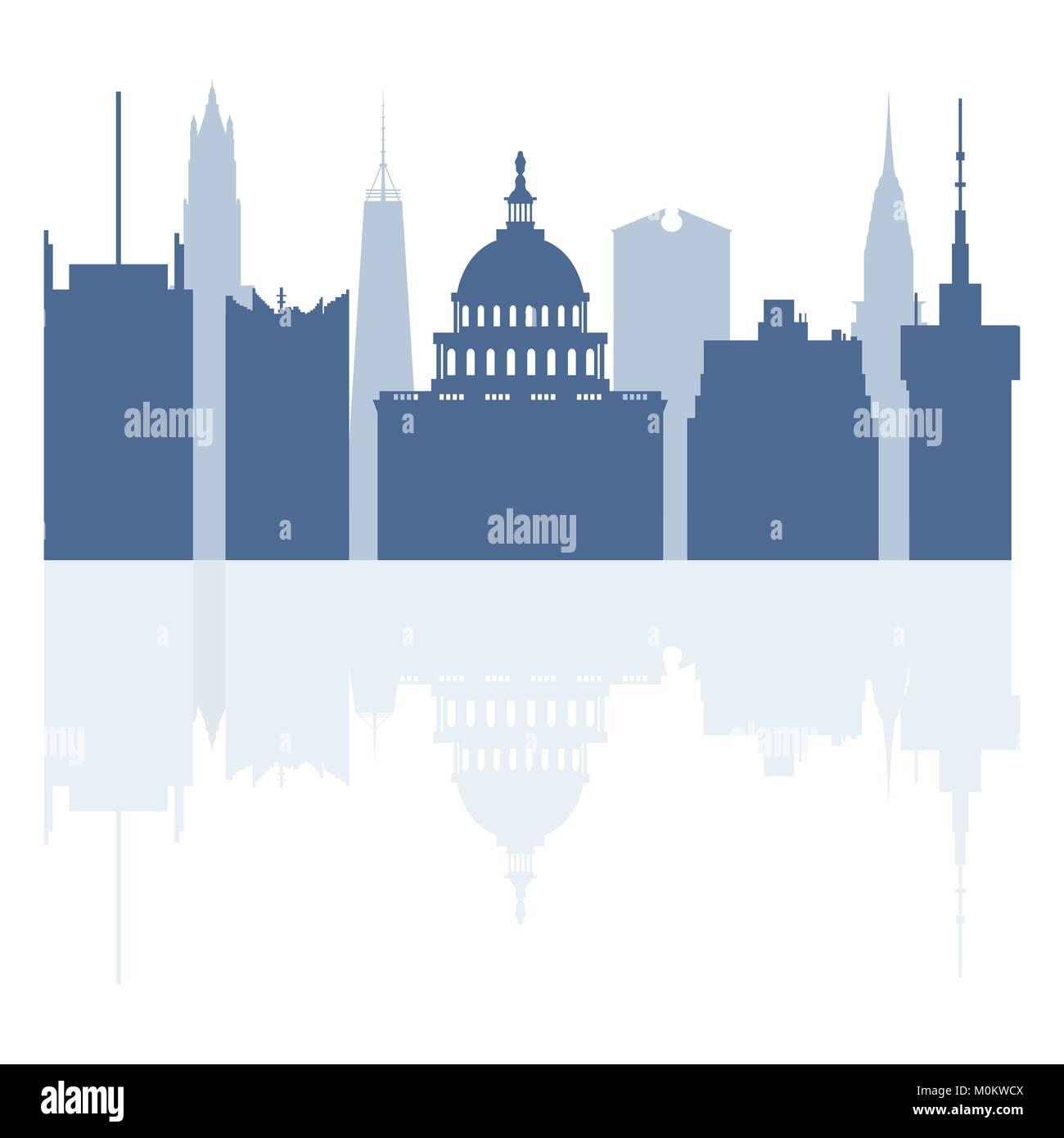 Las siluetas de los edificios famosos y modernos edificios en los ...